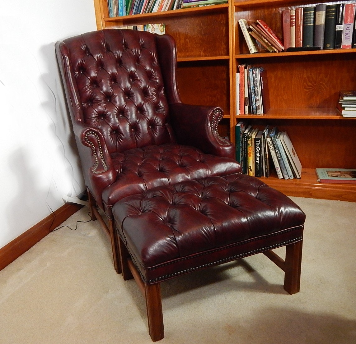 Sam Moore Burgundy Faux Leather Chair and Ottoman