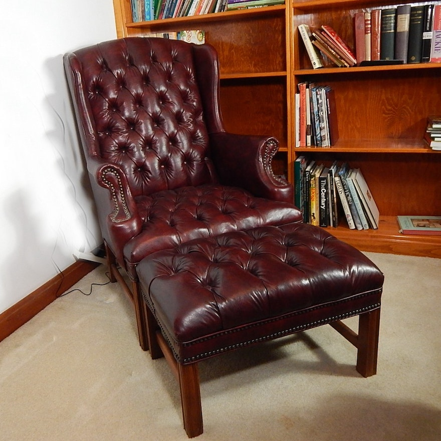 Marvelous Sam Moore Burgundy Faux Leather Chair And Ottoman Beatyapartments Chair Design Images Beatyapartmentscom