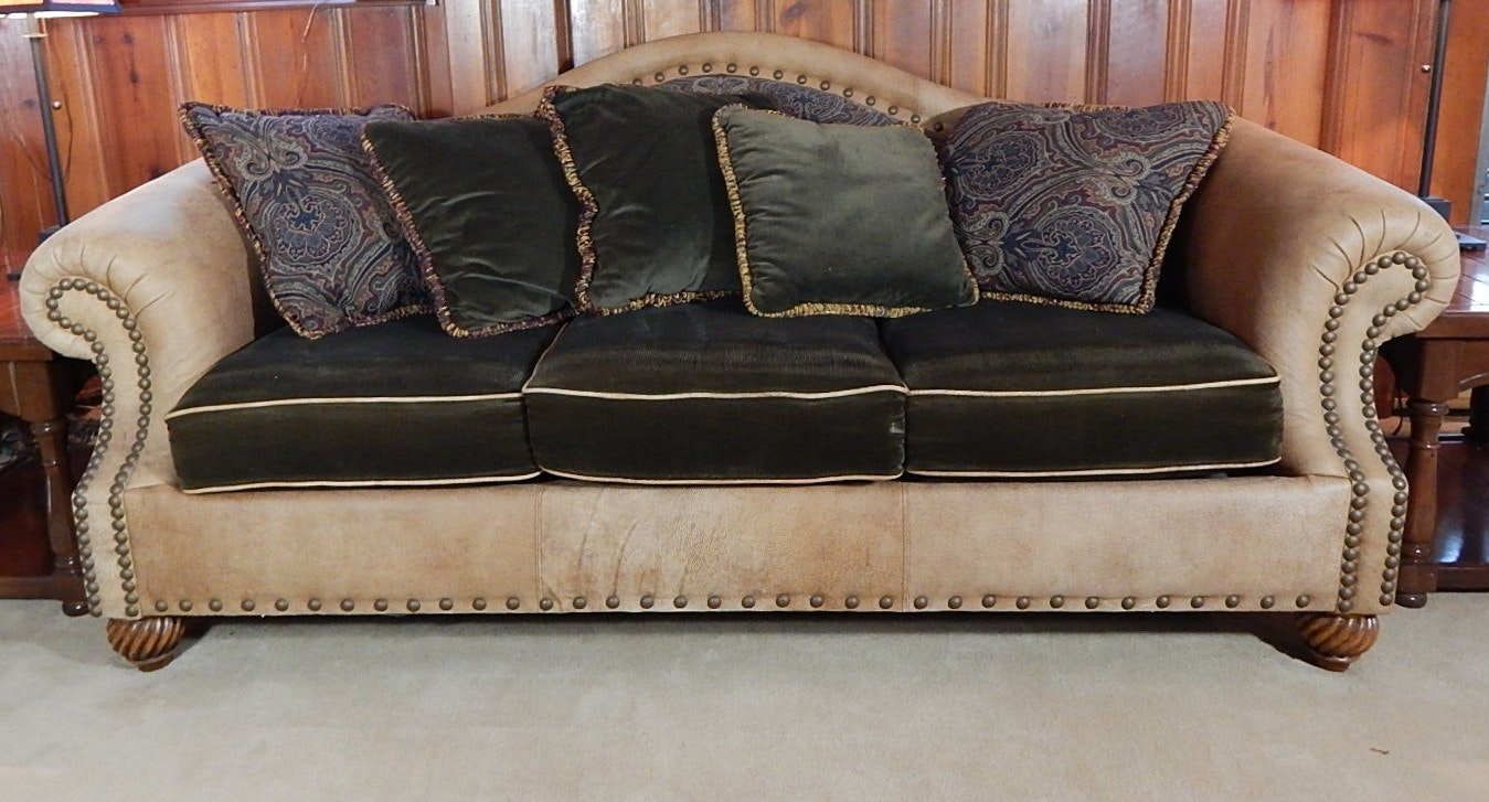 Leather and Corduroy Sofa