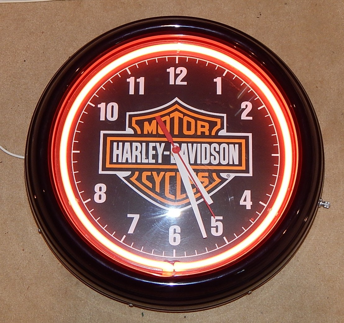 Harley Davidson Neon Wall Clock