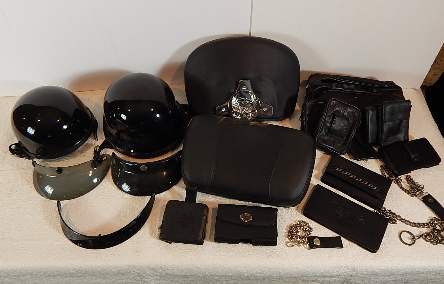 Motorcycle Items with Harley-Davidson, Helmets, Leather Wallets, and More