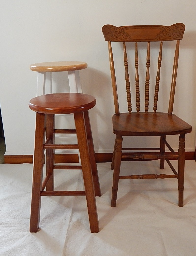 Pressed Back Chair and Two Stools