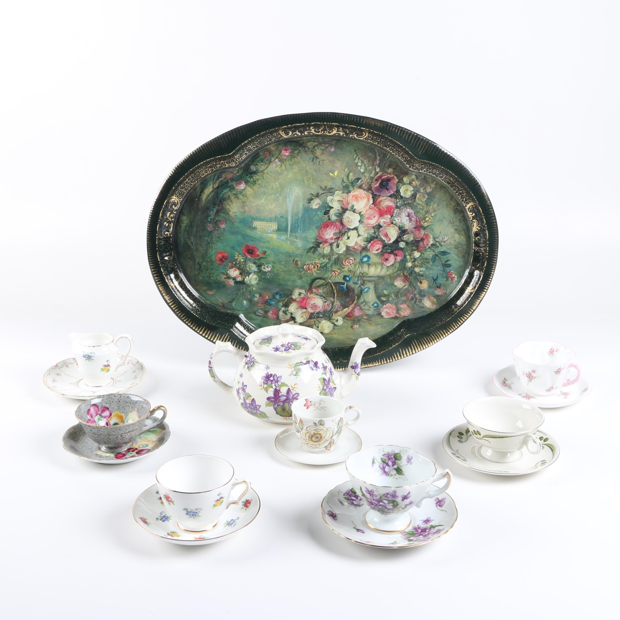 Floral Tableware Including Vintage GDA Limoges