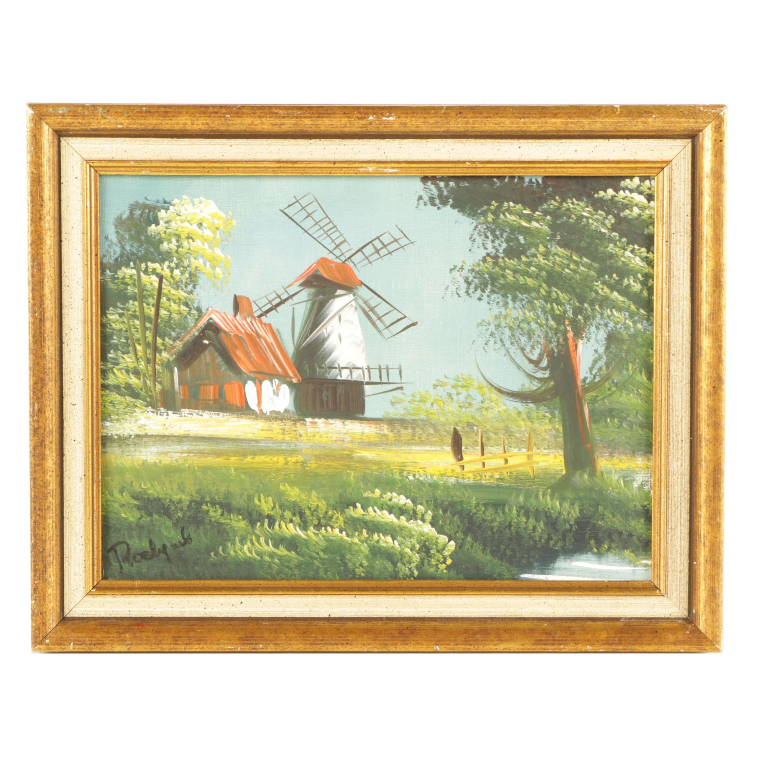 Oil Painting on Canvas of Windmill Scene