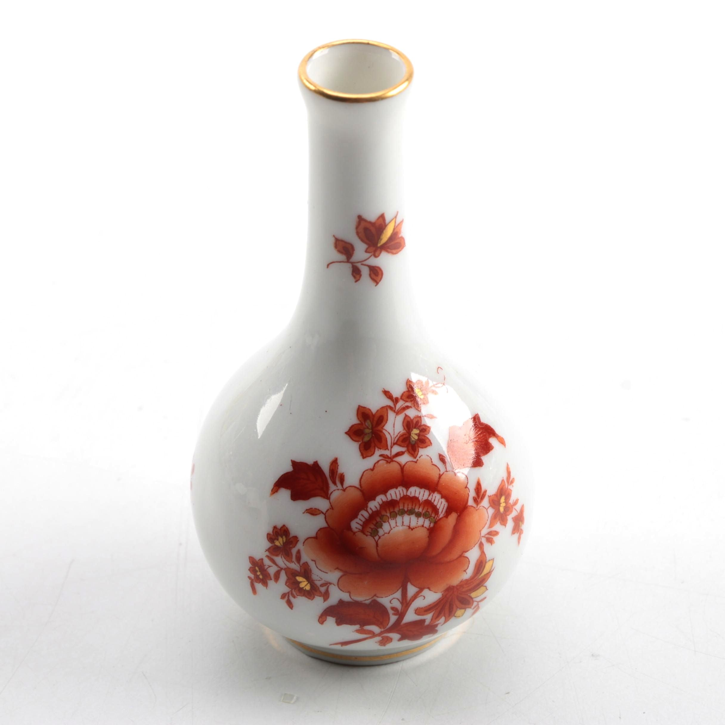 "Vintage Herend Hungary ""Chinese Bouquet Rust"" Hand-Painted Porcelain Bud Vase"