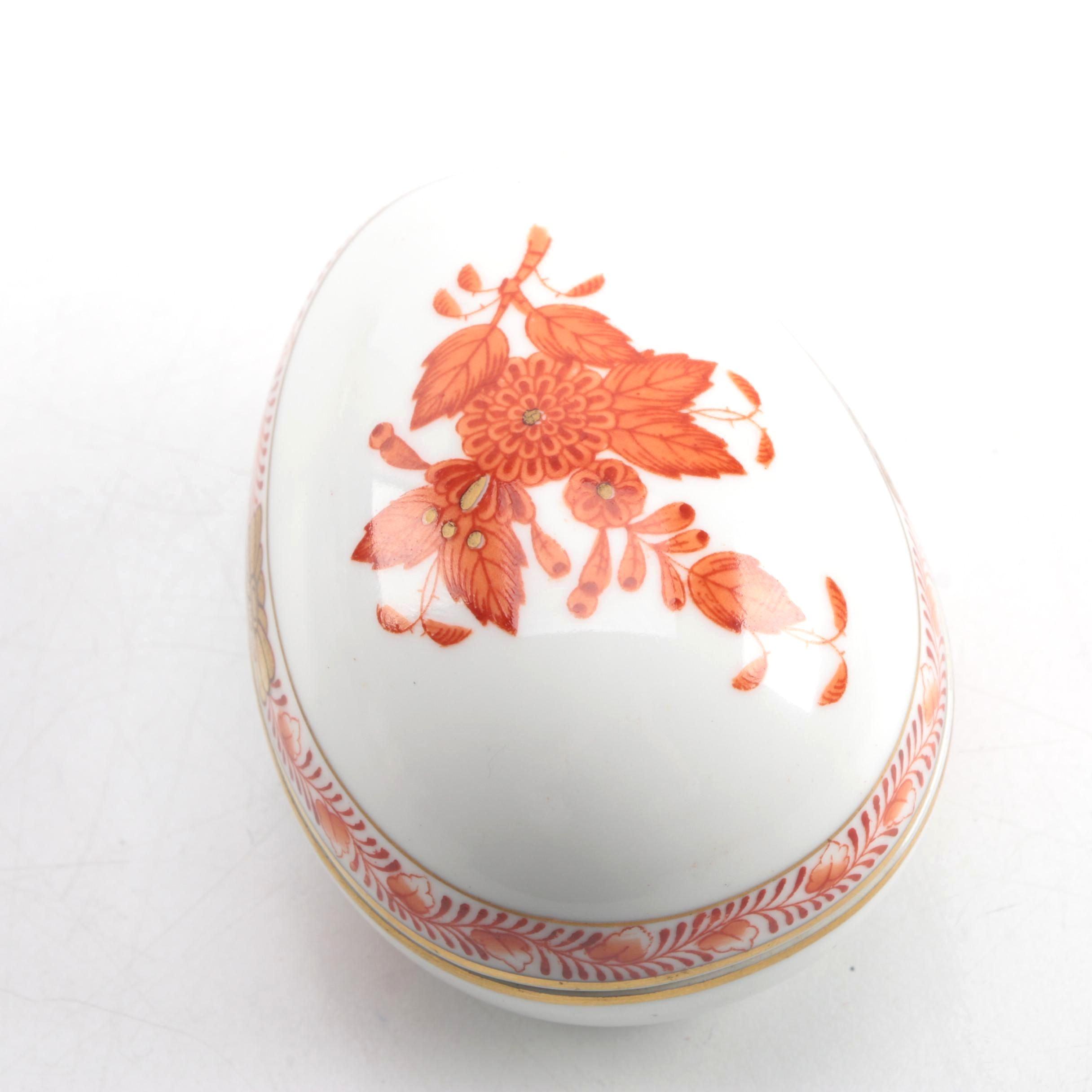 Herend Hand Painted Porcelain Egg Trinket Box
