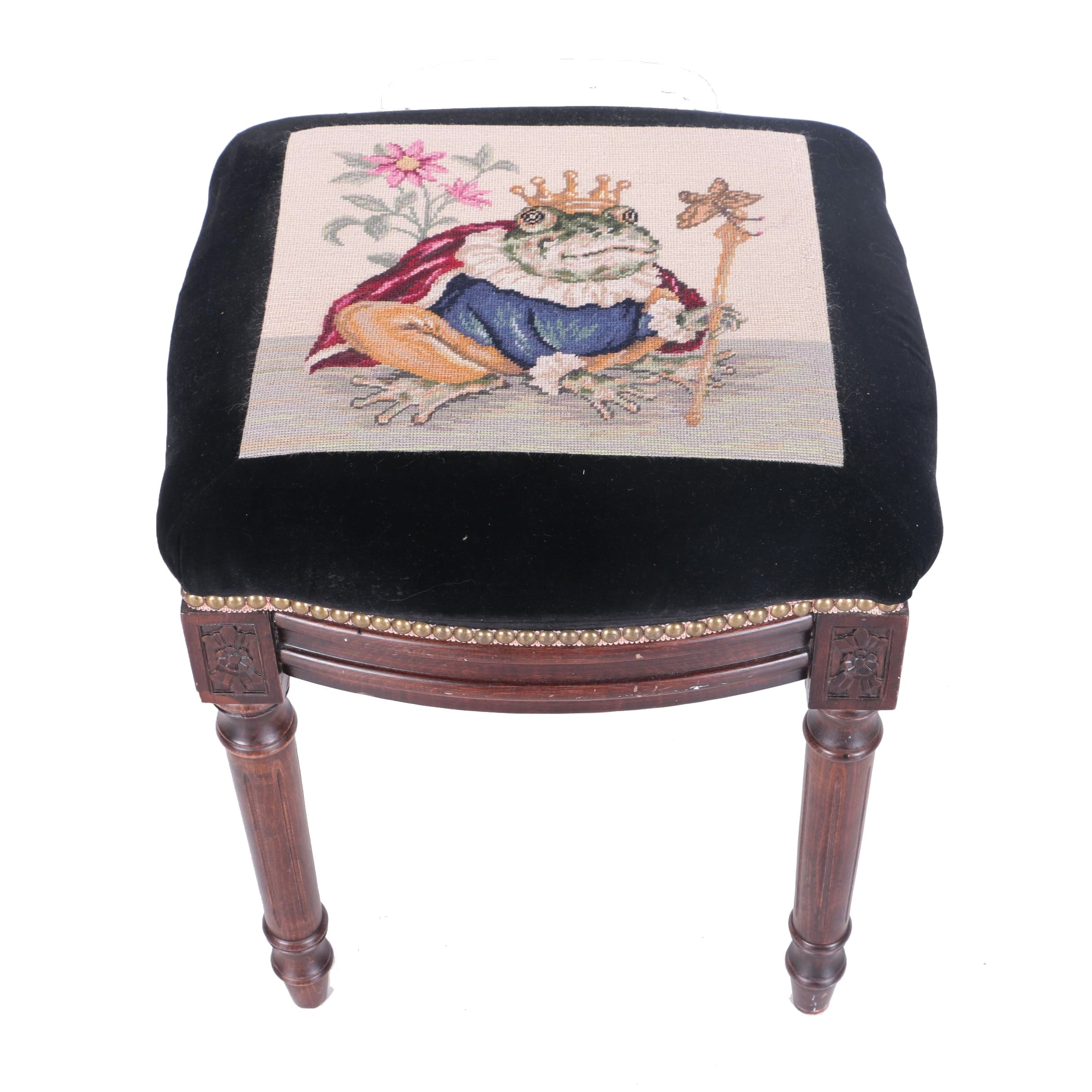 Louis XVI Style Stool With Frog Prince Needlepoint