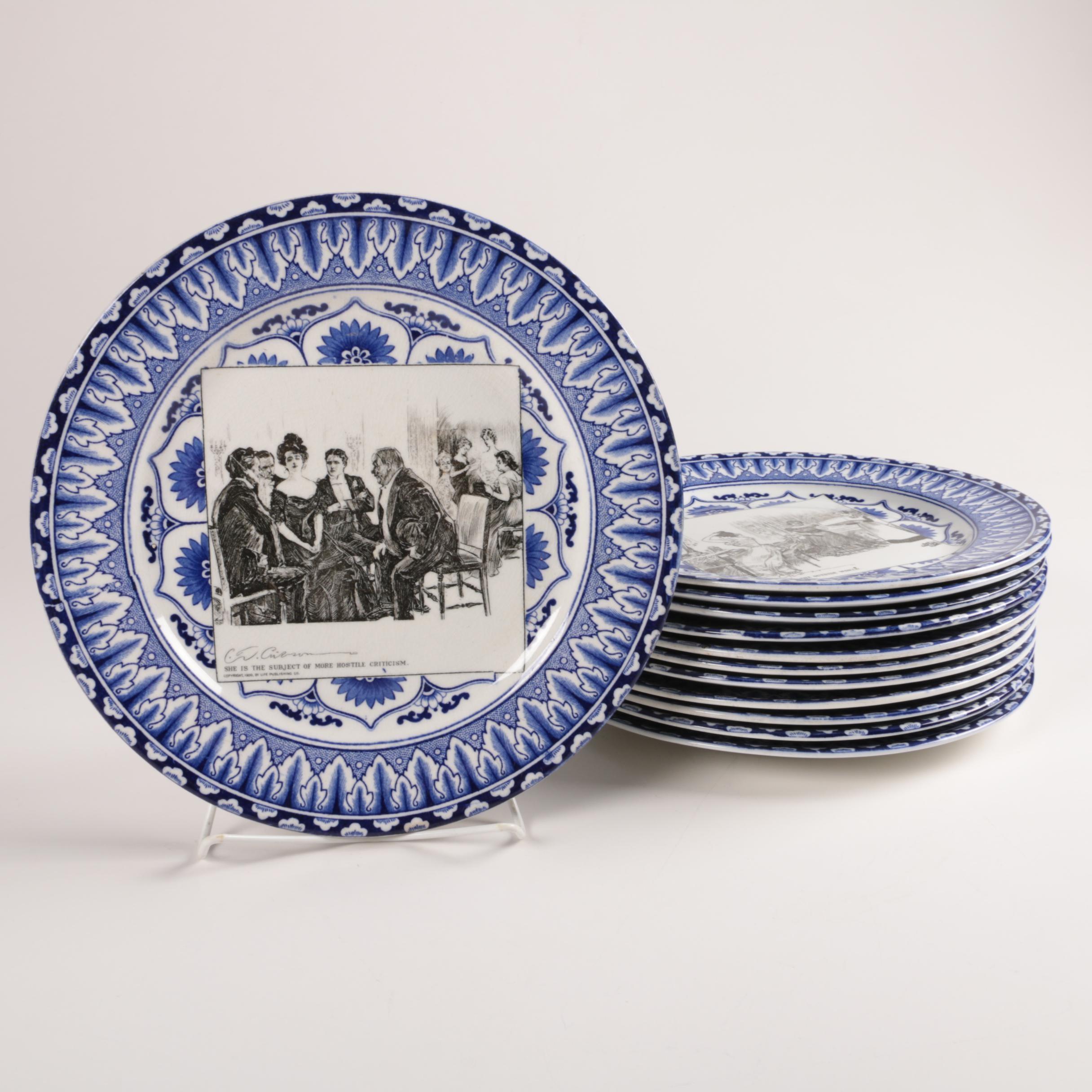 "Early 20th Century Royal Doulton ""Gibson Girl"" Plates"