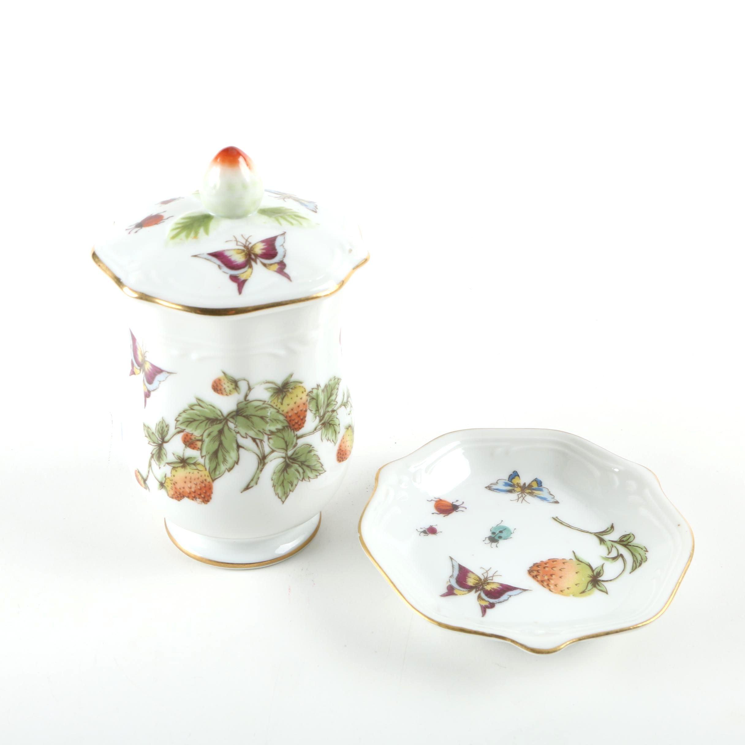 Lenwile Ardalt Hand-Painted Porcelain Jam Jar & Saucer