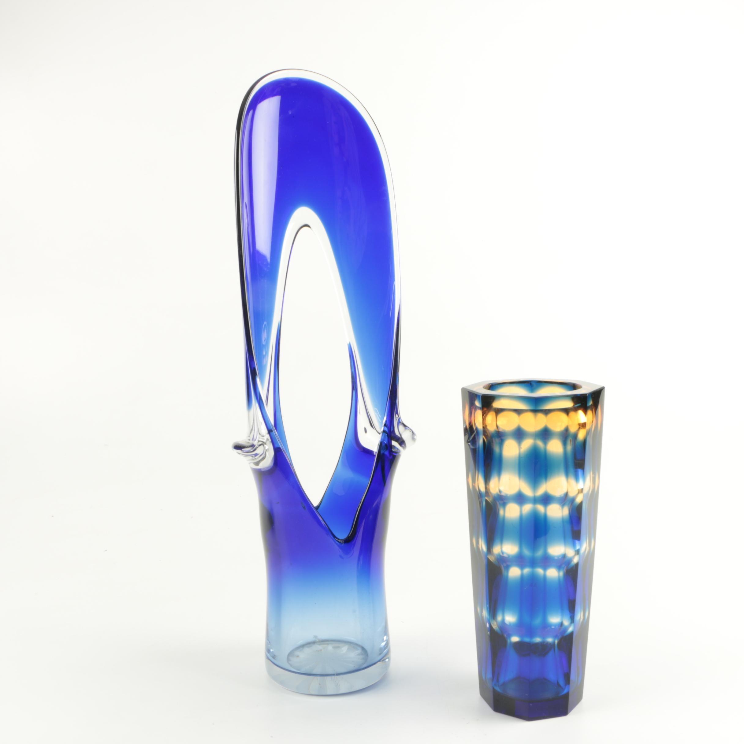 Blue Art Glass Vases