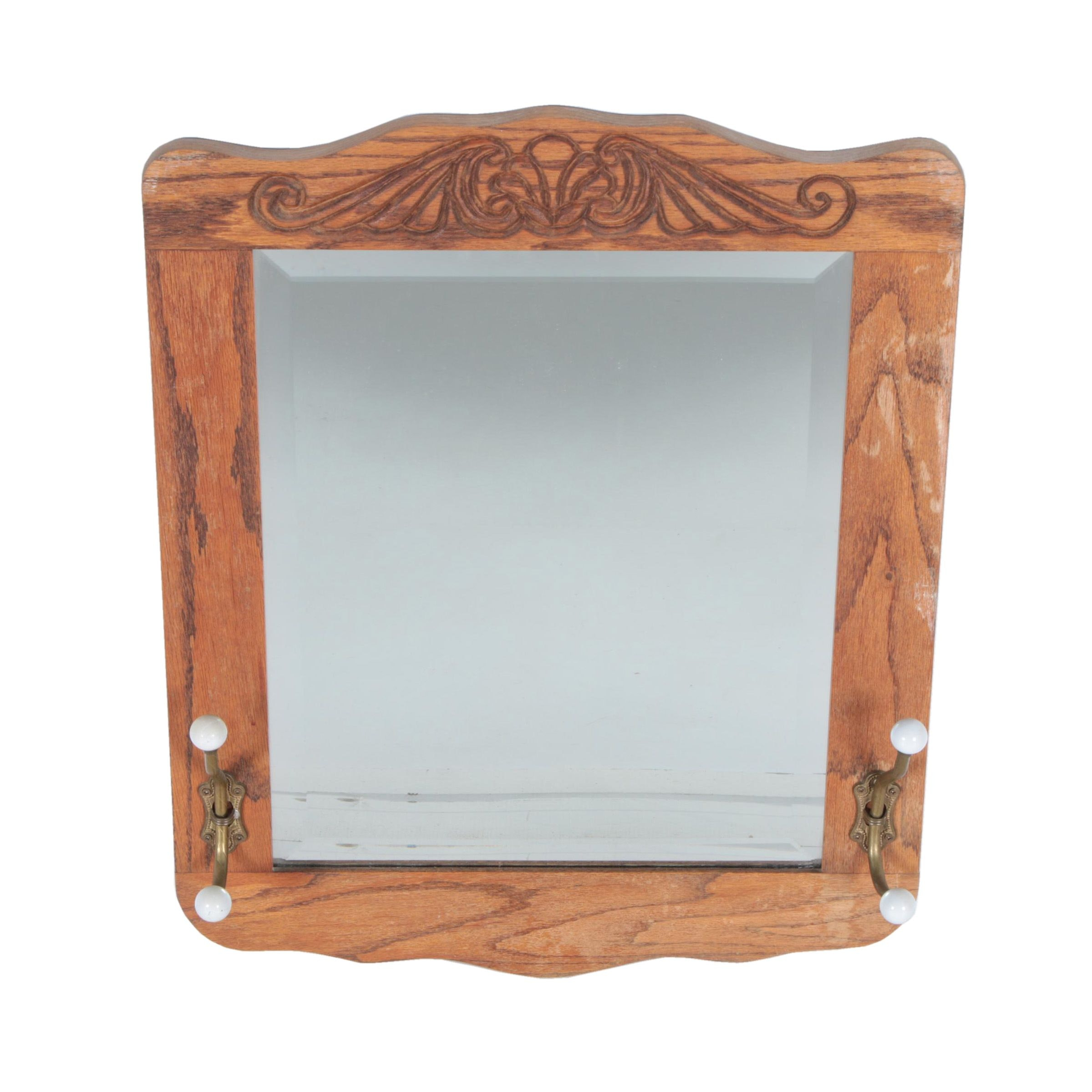 Wall Mirror with Rustic Wood Frame and Hangers