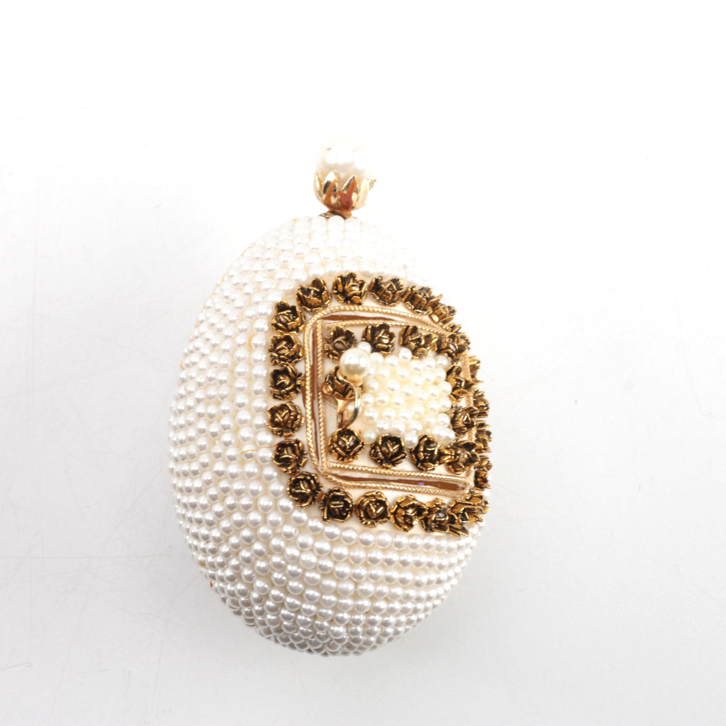Faux Pearl Decorated Egg with Hinged Door
