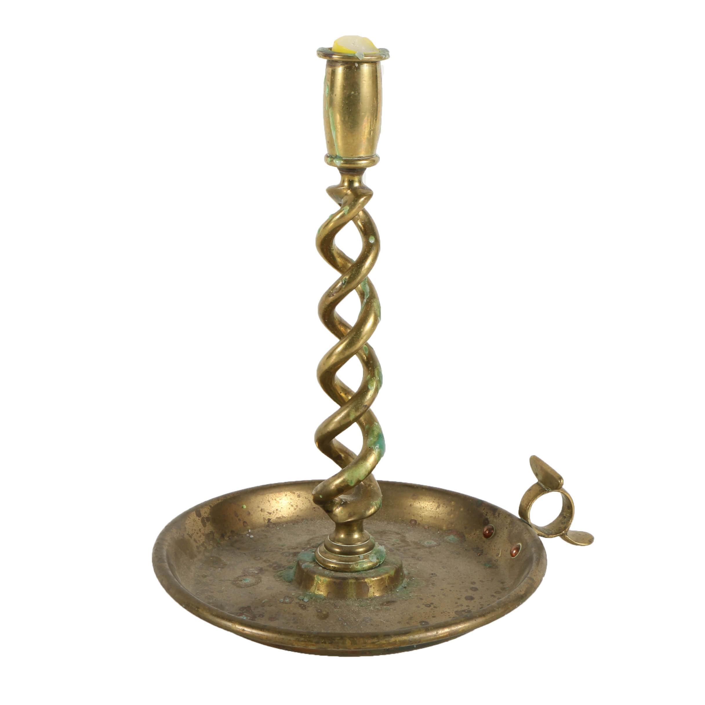 English Brass Spiral Candlestick
