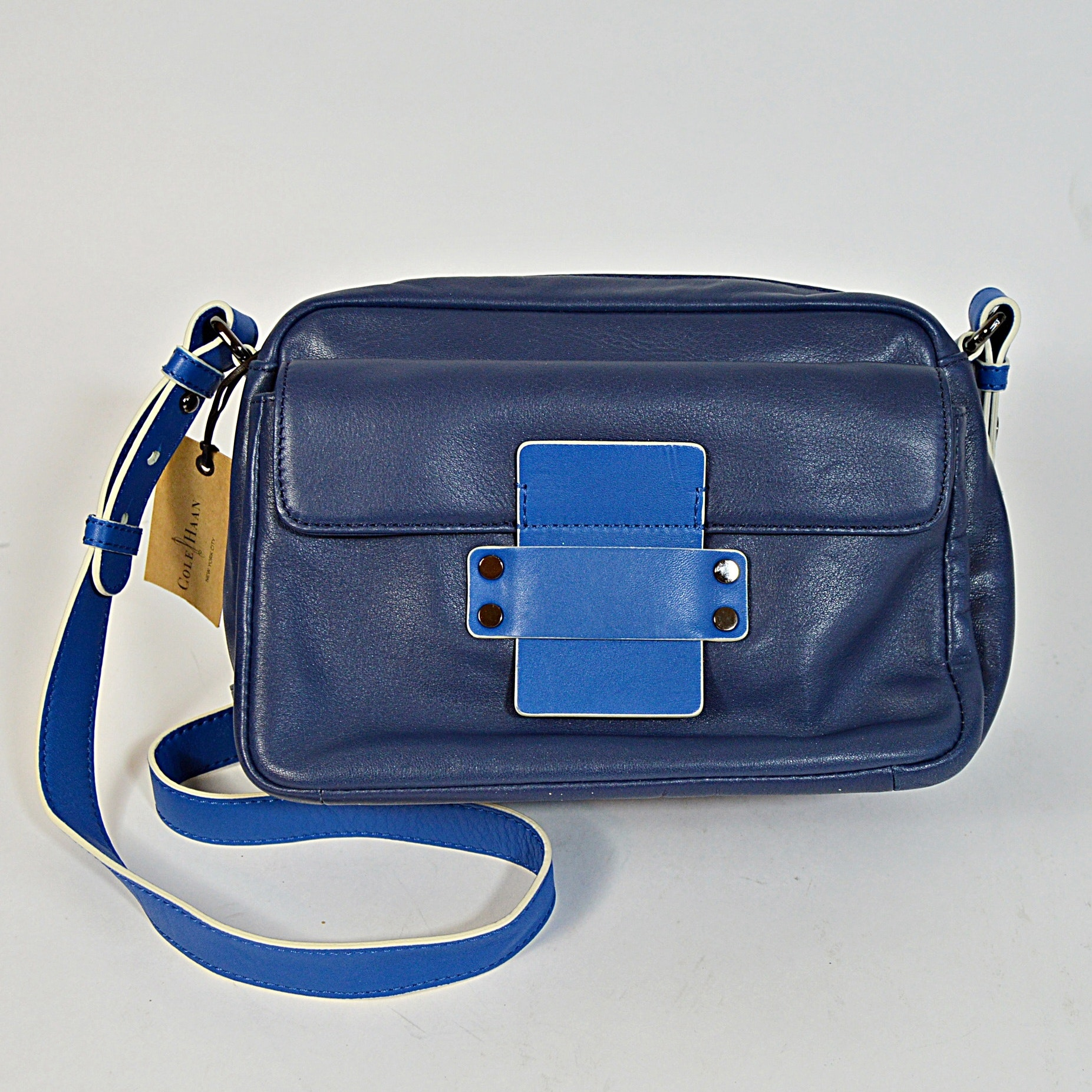 Cole Haan Blue Leather Handbag, New-with-Tags