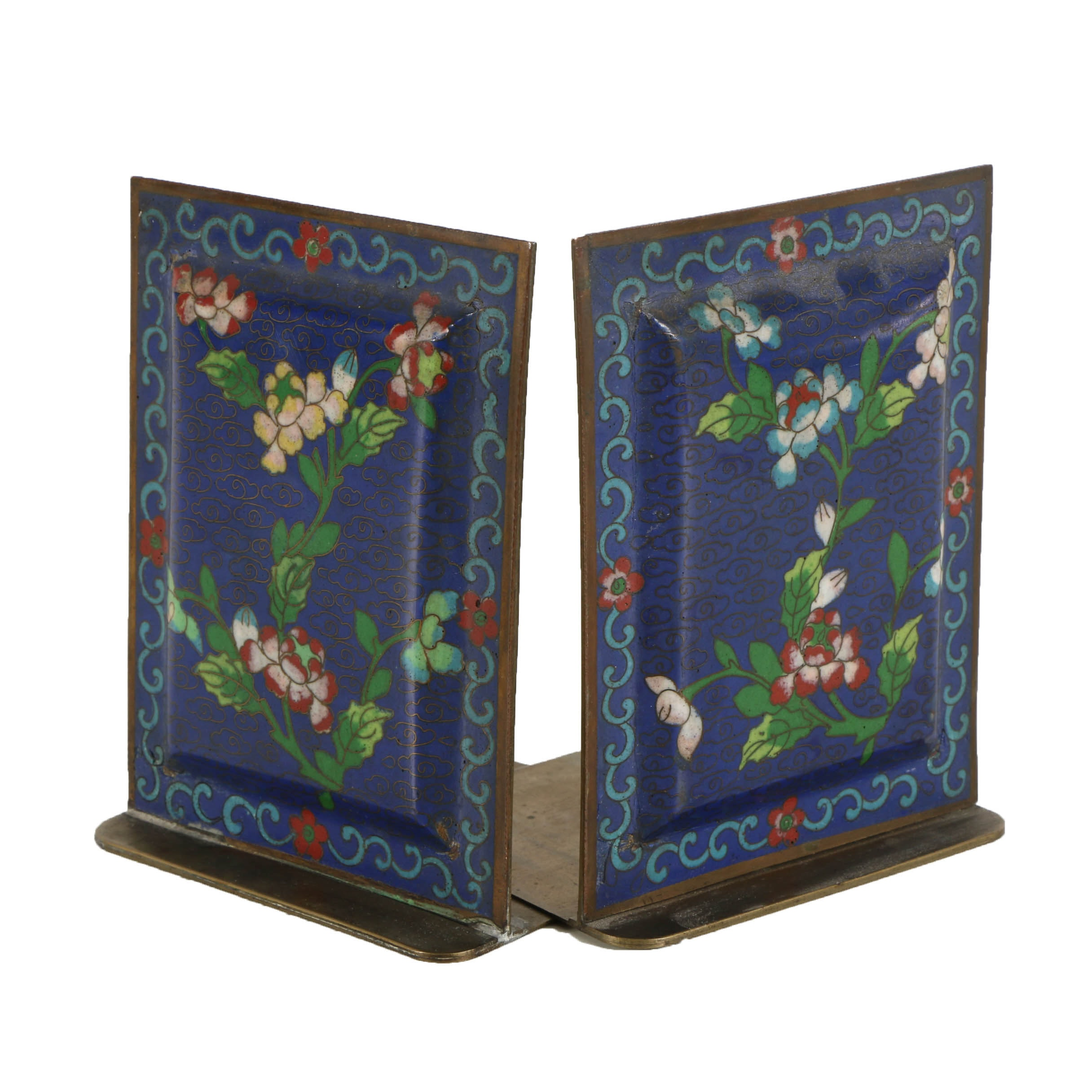 Pair of Chinese Cloisonné Bookends with Floral Motif