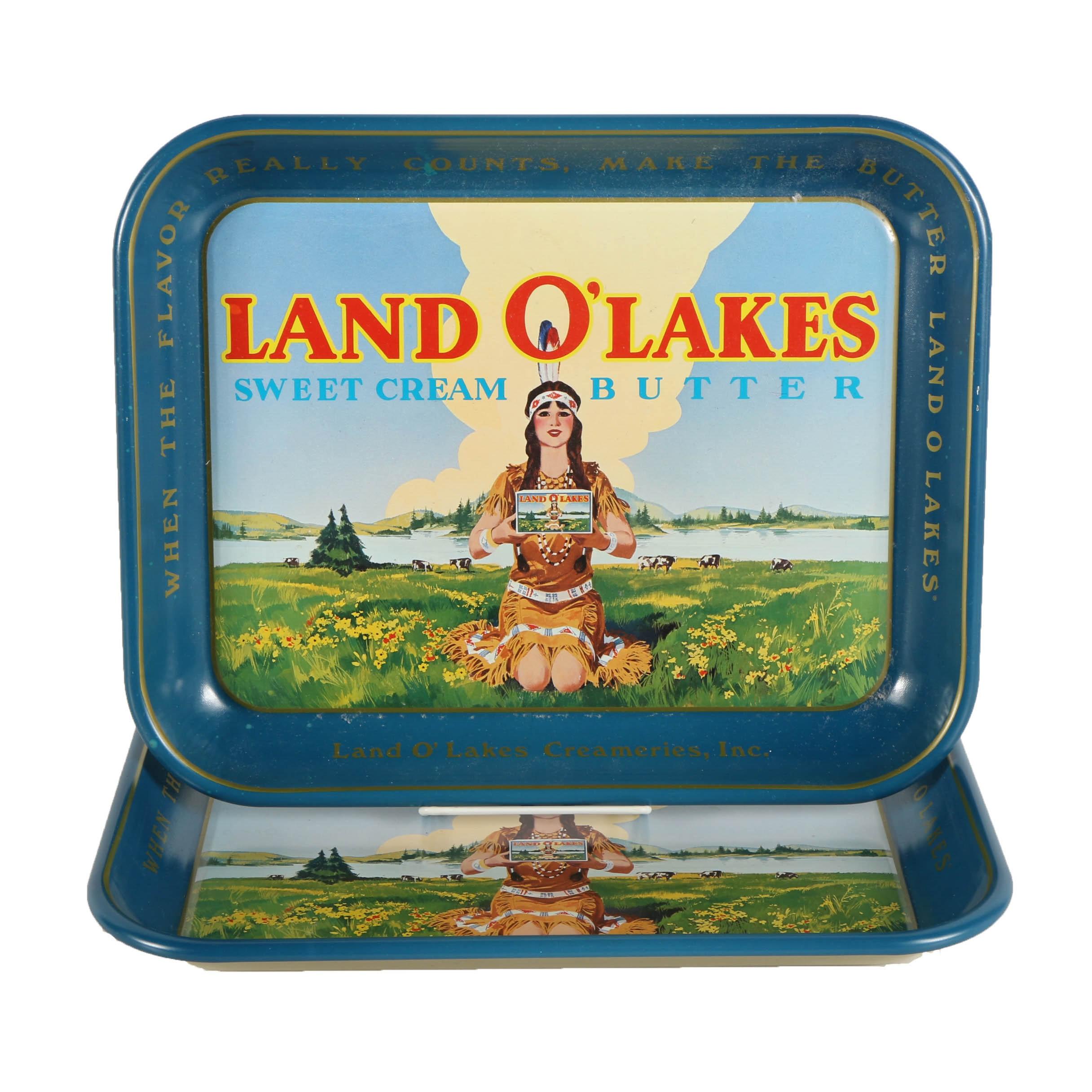 "Pair of Vintage ""Land O' Lakes"" Steel Trays"