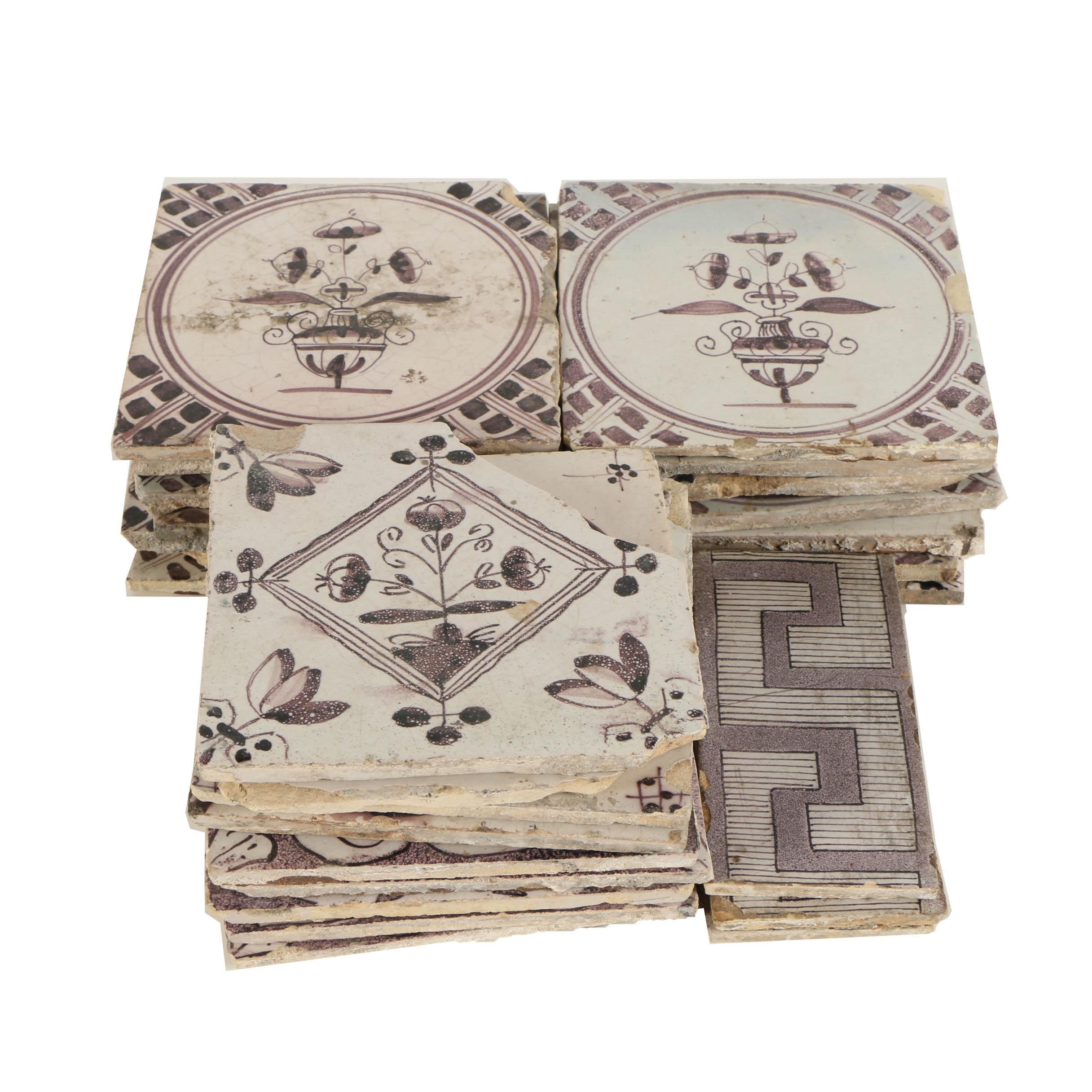 Twenty-One Antique Italian Hand Painted Ceramic Tiles