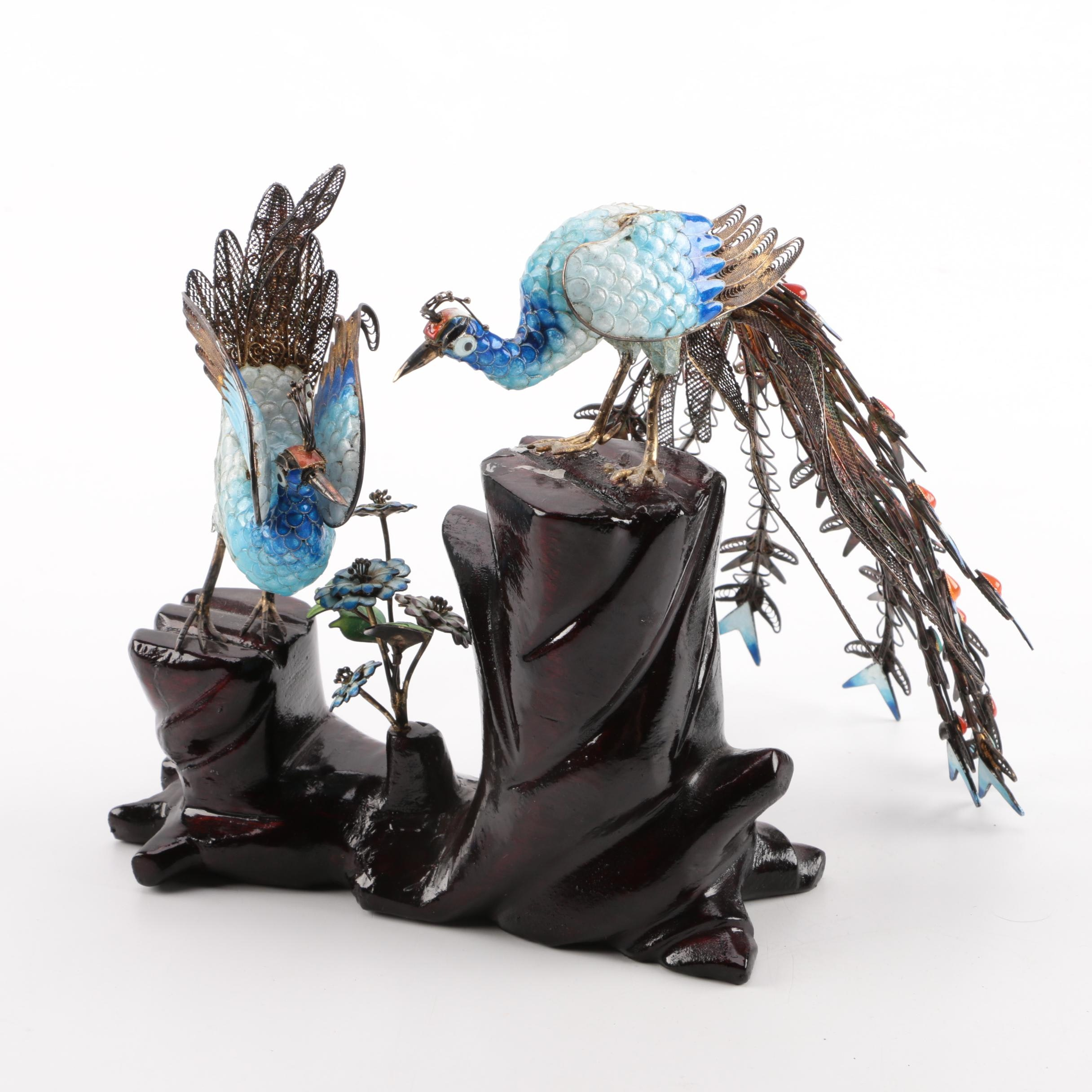 Chinese-Style Enameled Peafowl