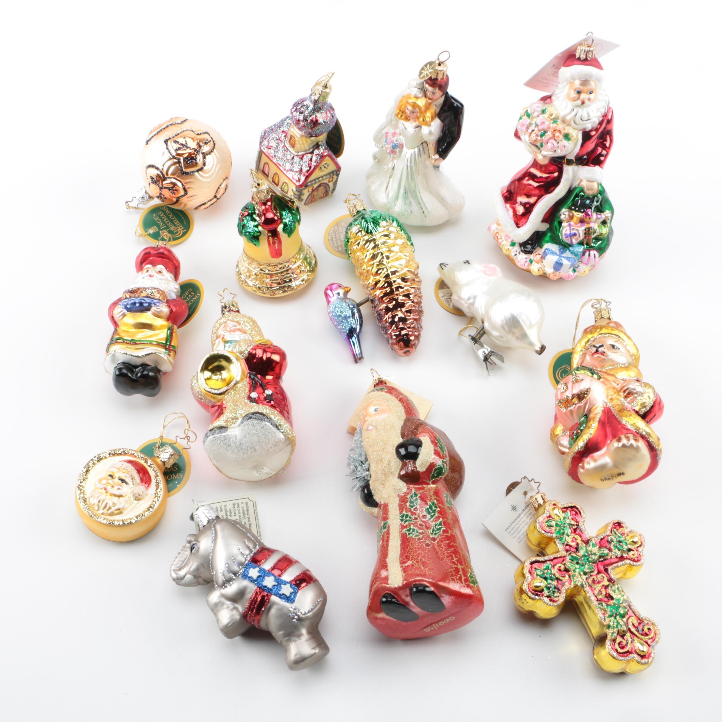 Assorted Christmas Ornaments including Christopher Radko