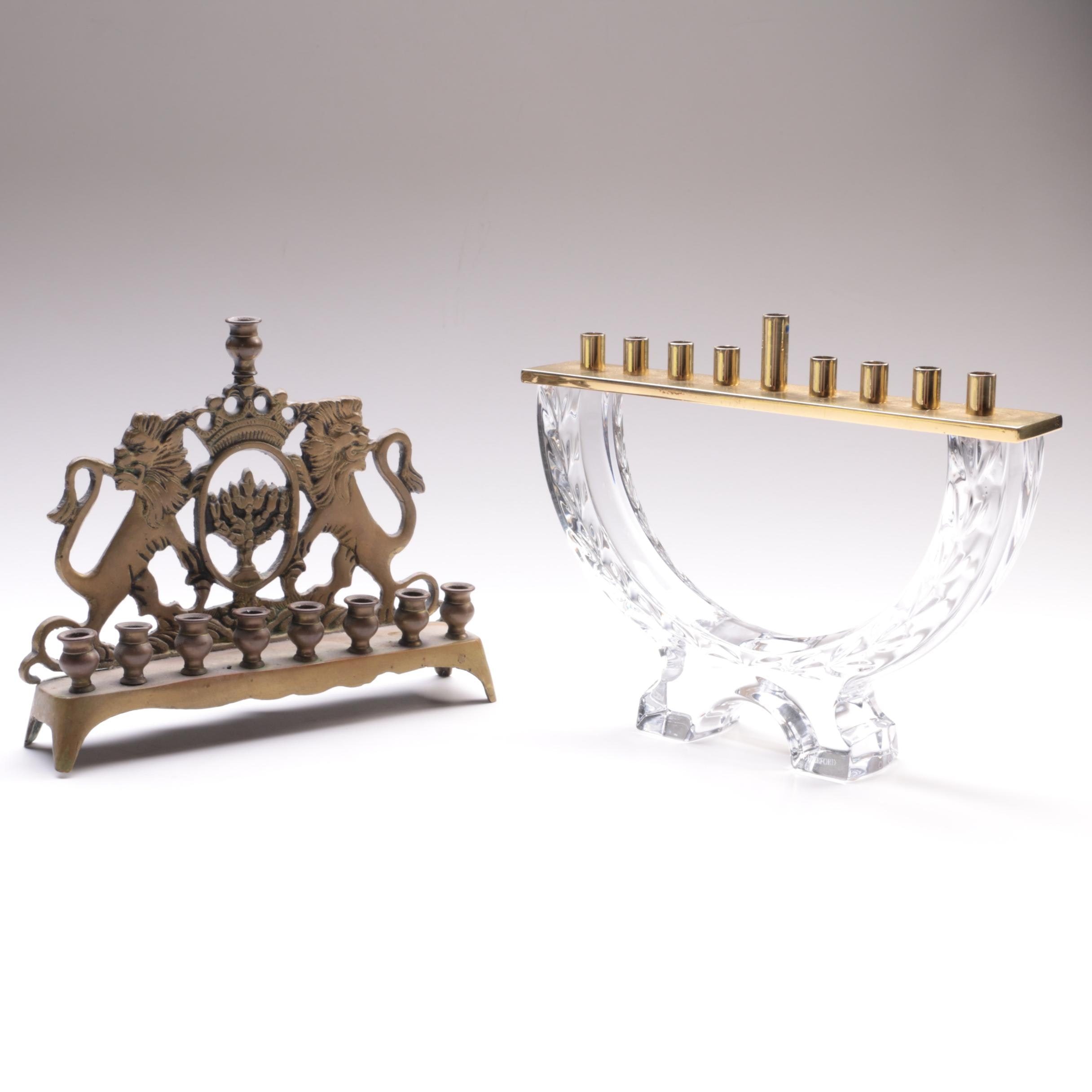 Waterford Crystal Menorah with Brass Lions of Judah Menorah