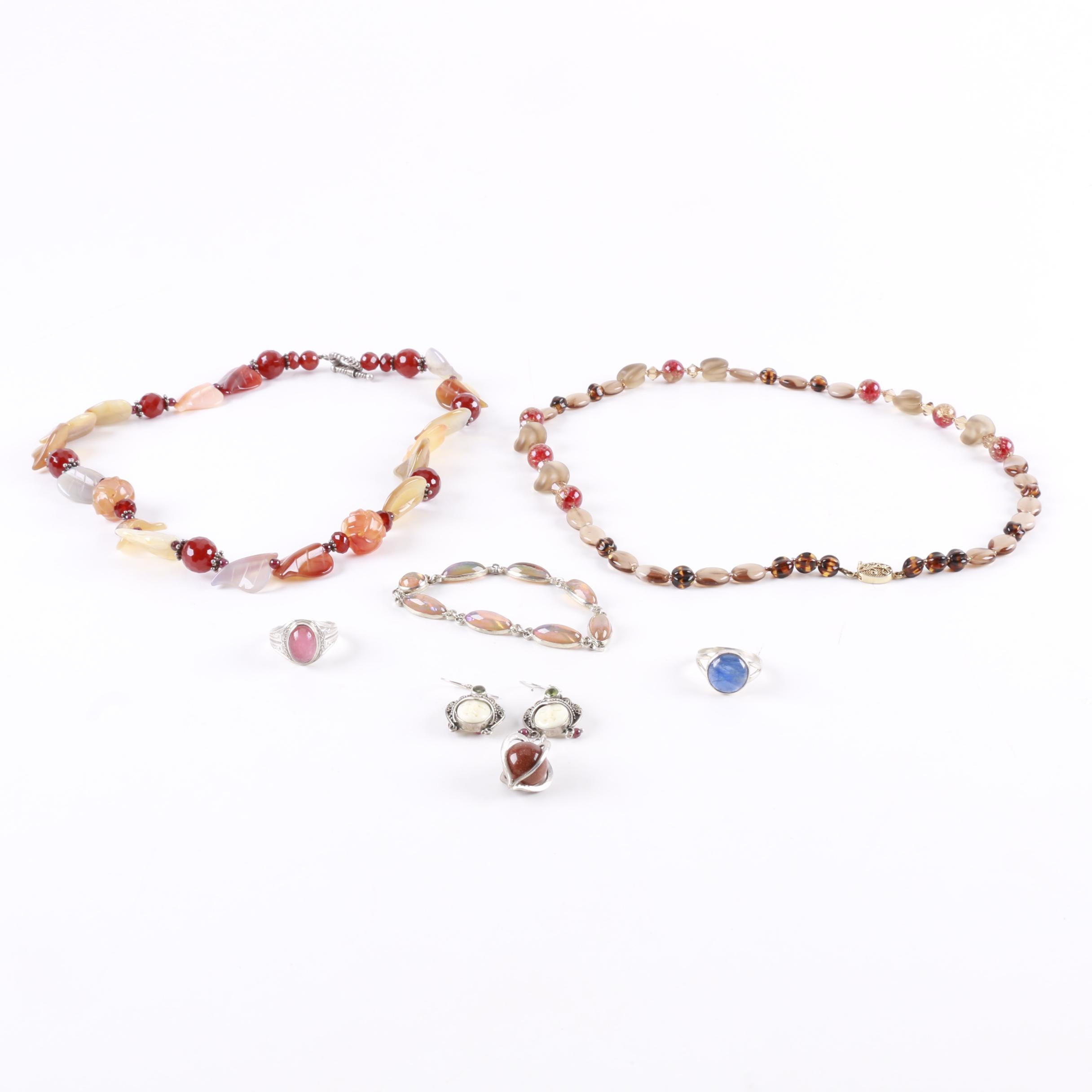 Sterling Silver Jewelry Including Carnelian and Peridot