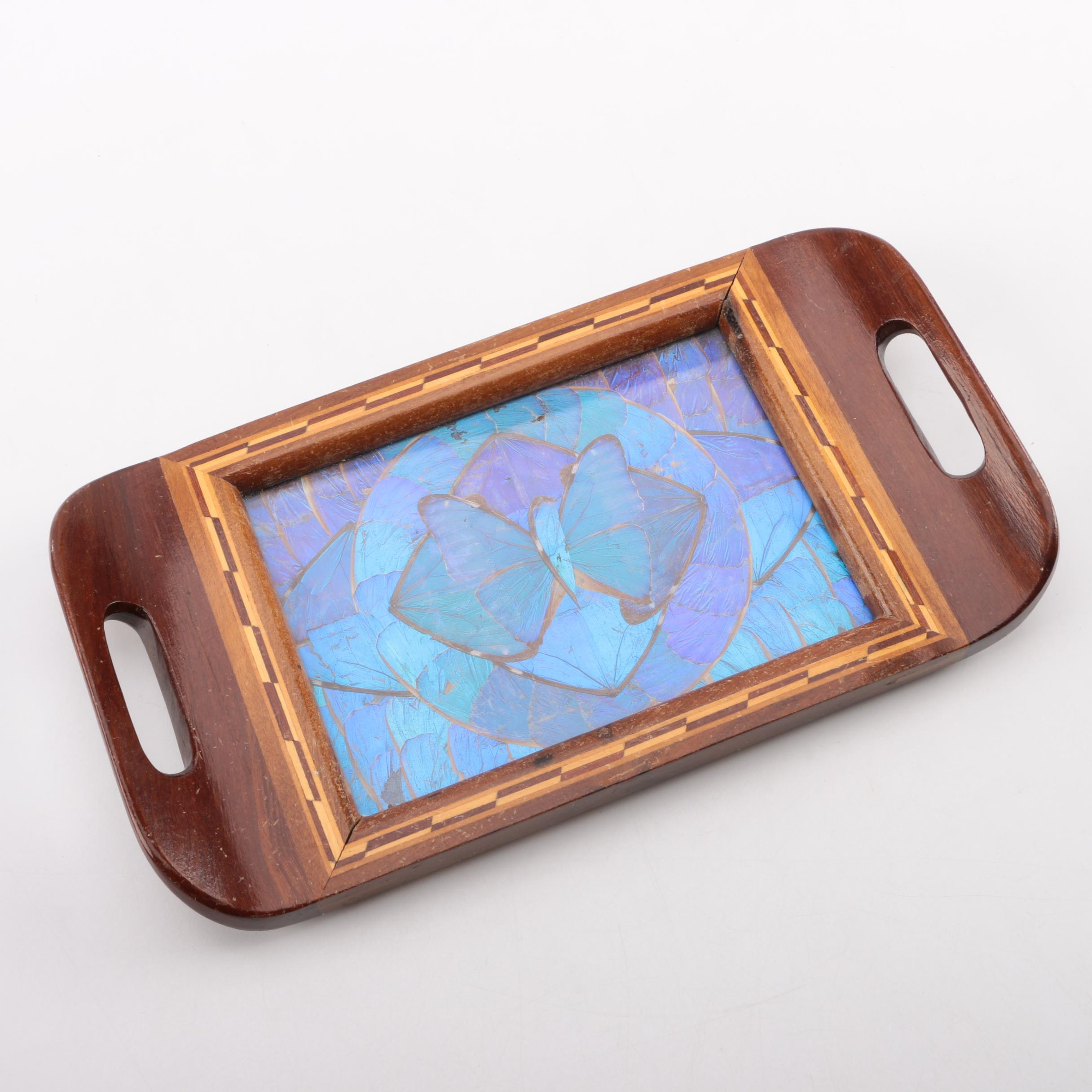 Decorative Serving Tray with Butterfly Mosaic