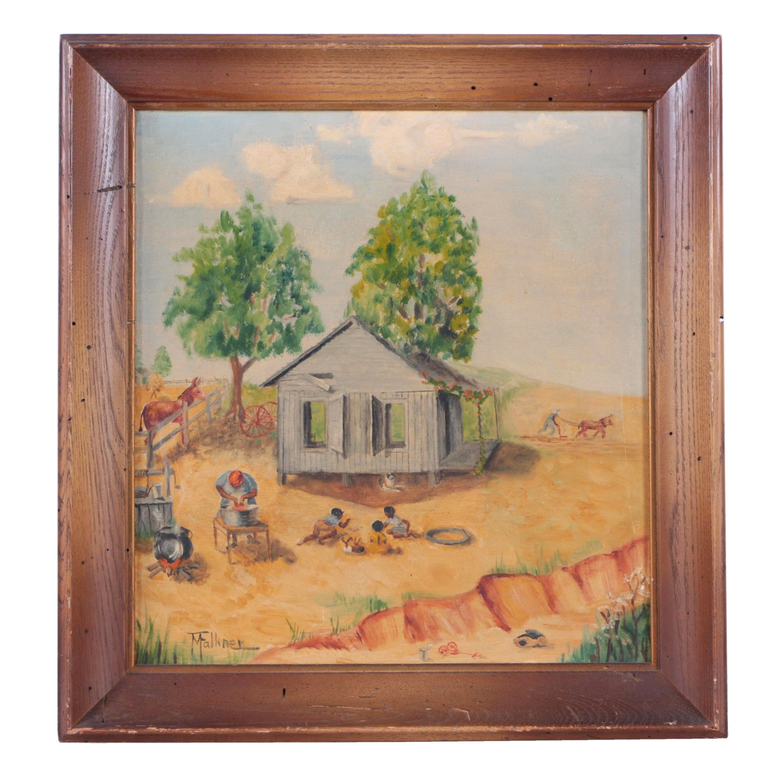 M. Falkner Oil Painting on Canvas Board of a Farm Scene