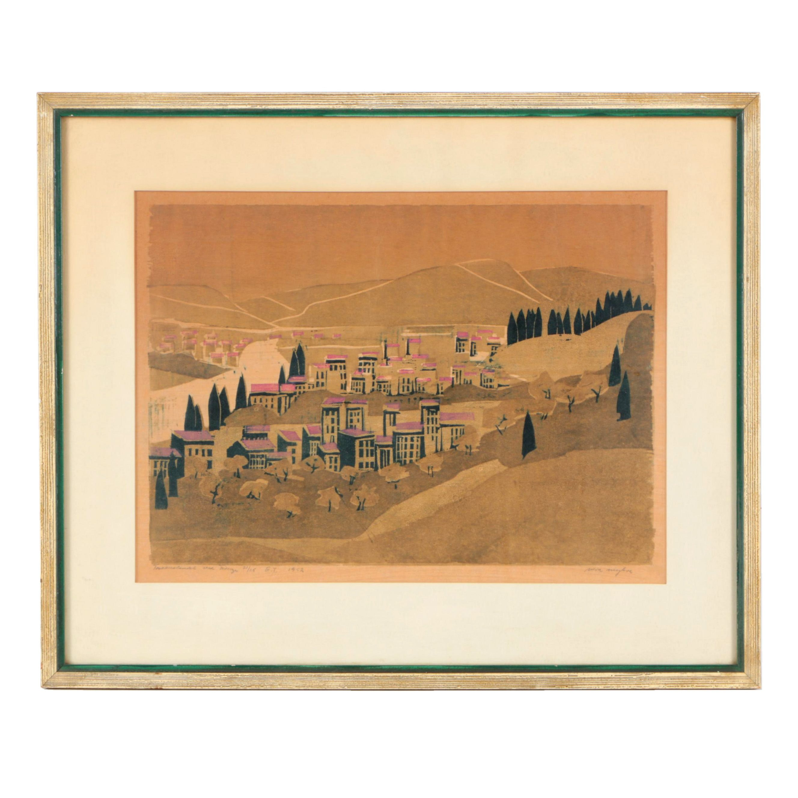 Limited Edition Lithograph on Paper of a Town