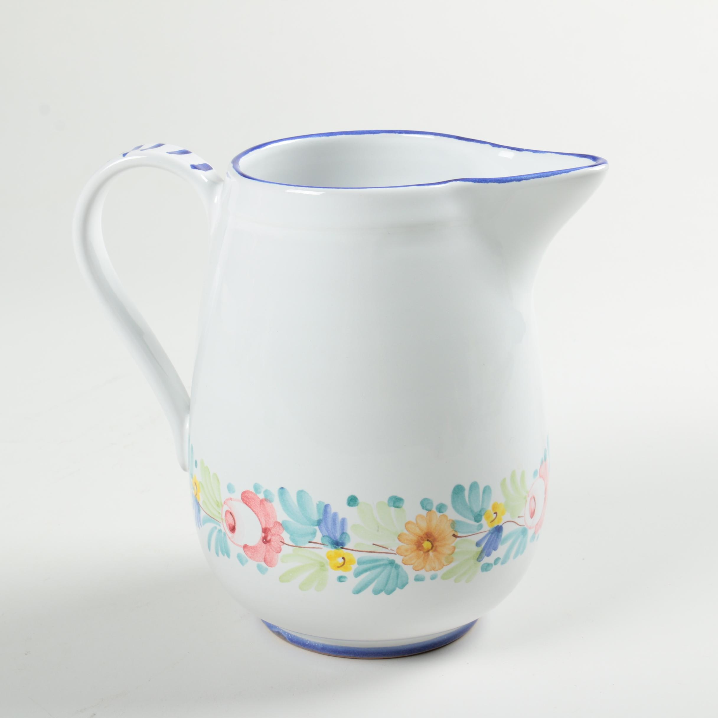 Italian Hand Painted Earthenware Pitcher