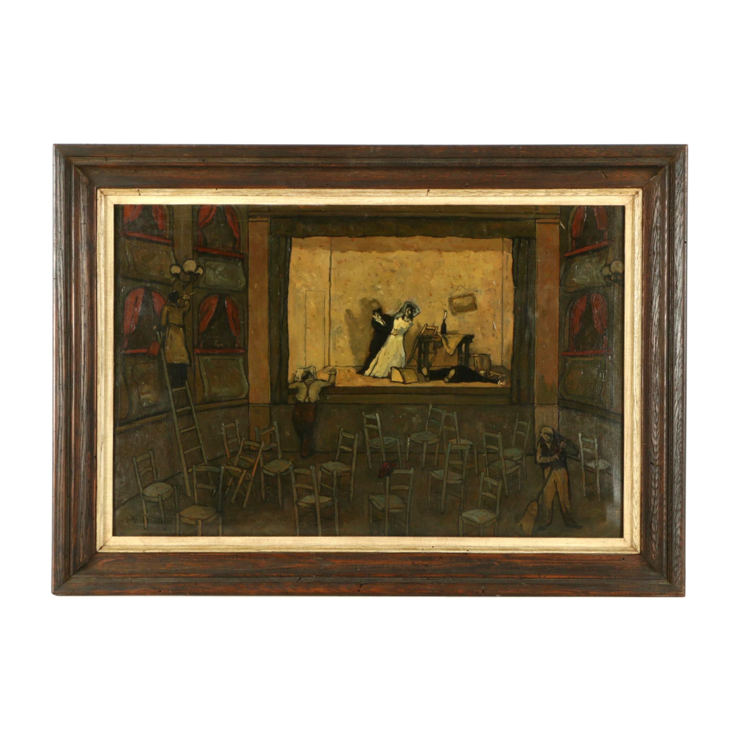 Original Oil Painting of Theater Rehearsal Scene