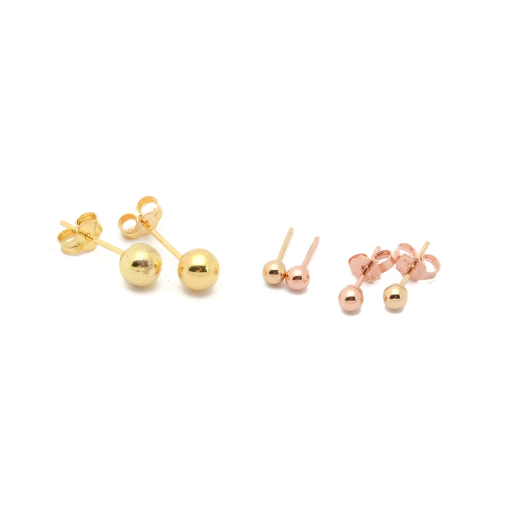 14K Yellow Gold and Sterling Silver Ball Earrings