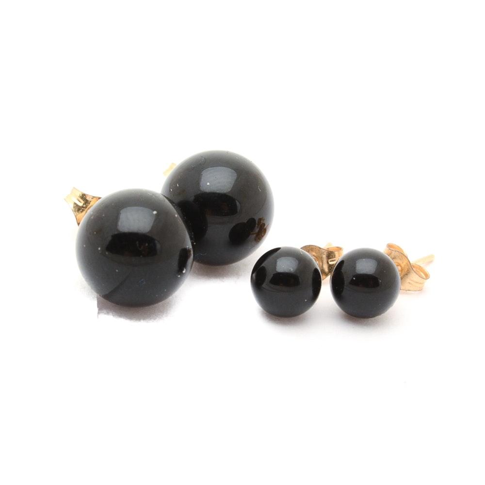 14K Yellow Gold Black Onyx Ball Earrings
