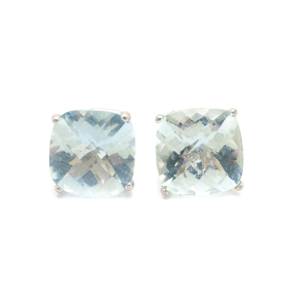 14K Yellow Gold Cushion Cut Aquamarine Earrings