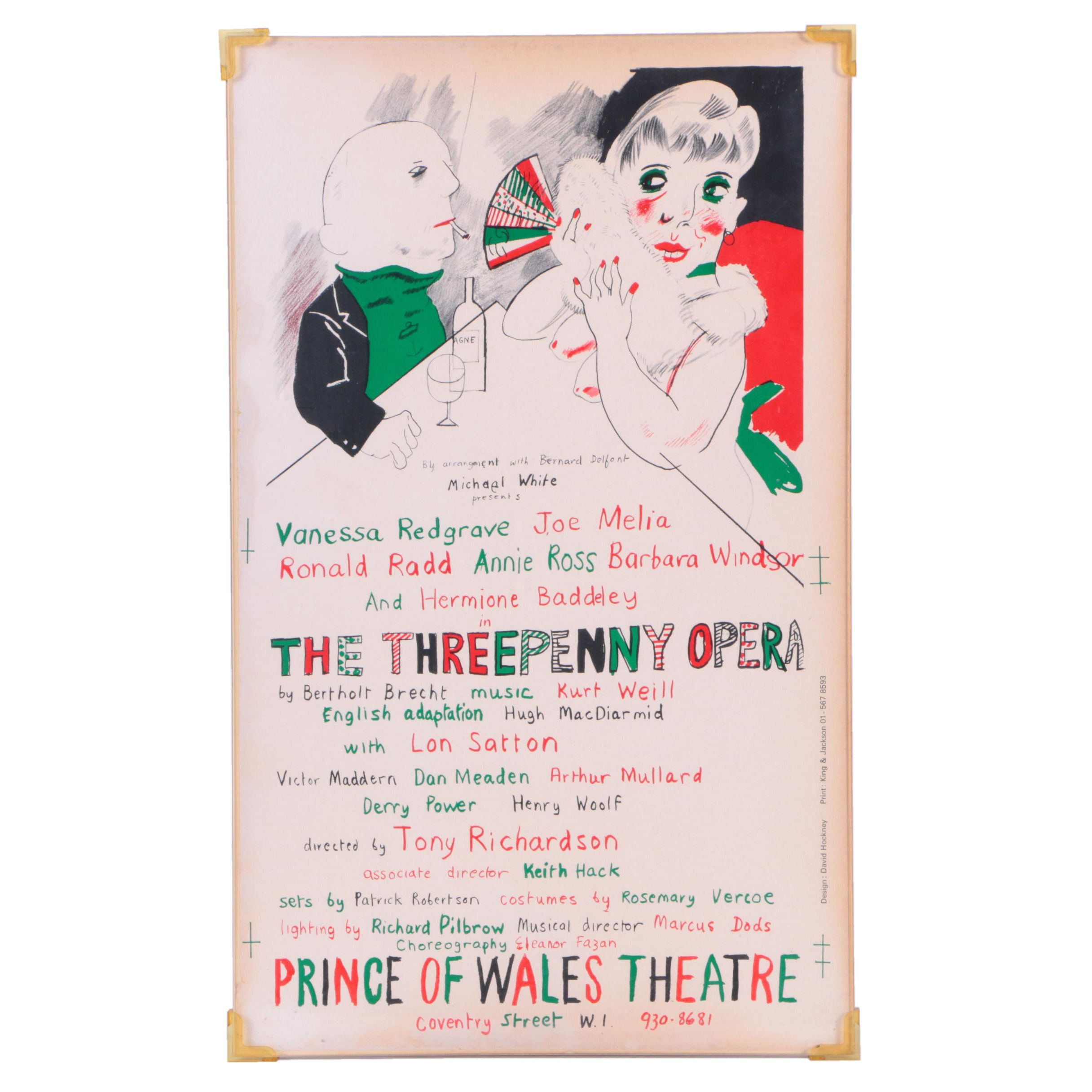 HV - David Hockney-Designed Lithograph Poster for The Threepenny Opera