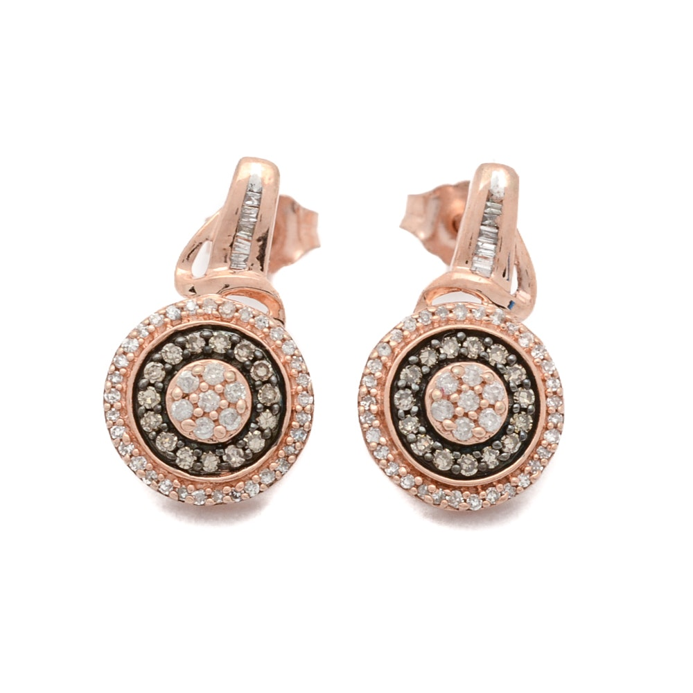 Sterling Silver Brown Diamond Halo Earrings