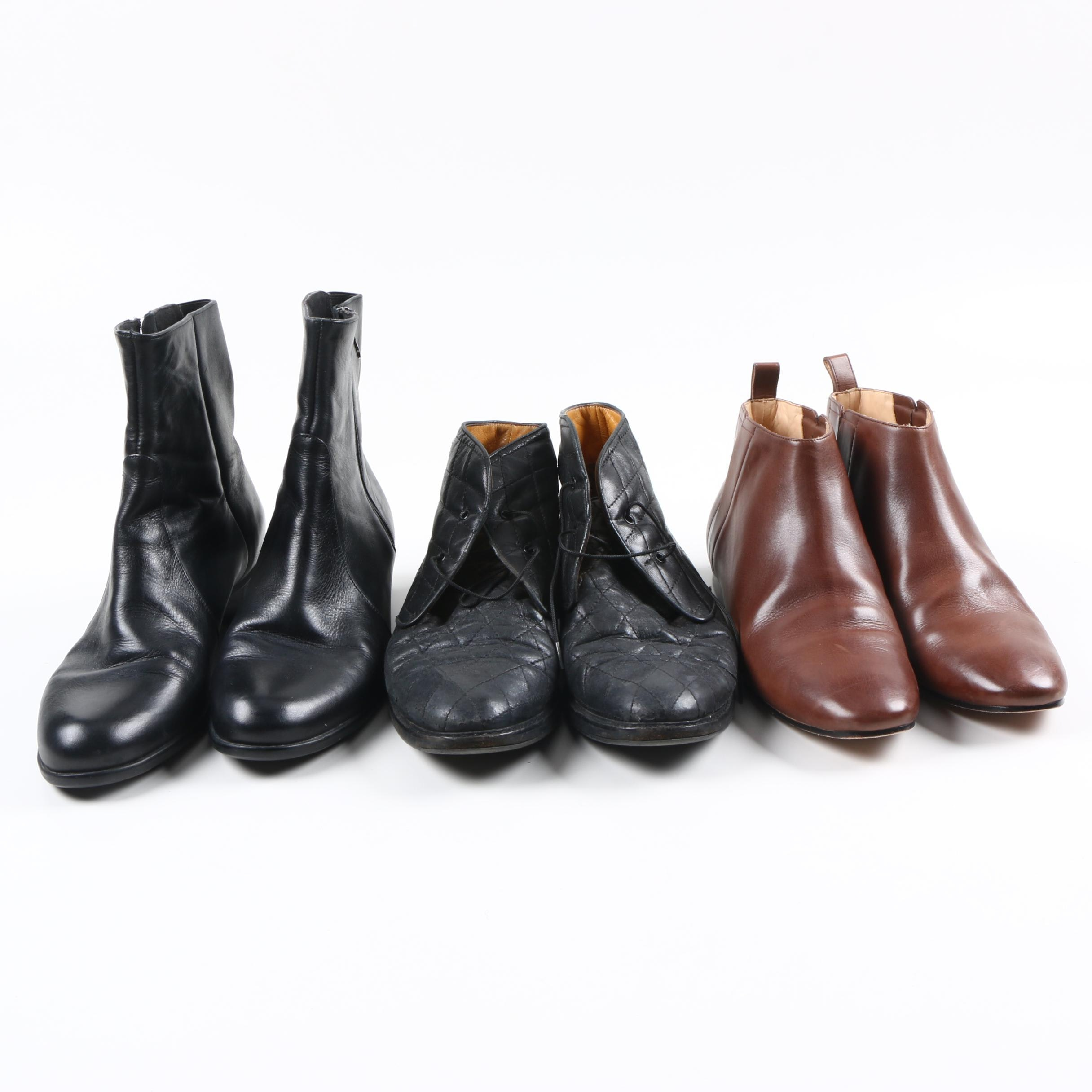 Three Pairs of Women's Booties Including Cole Haan