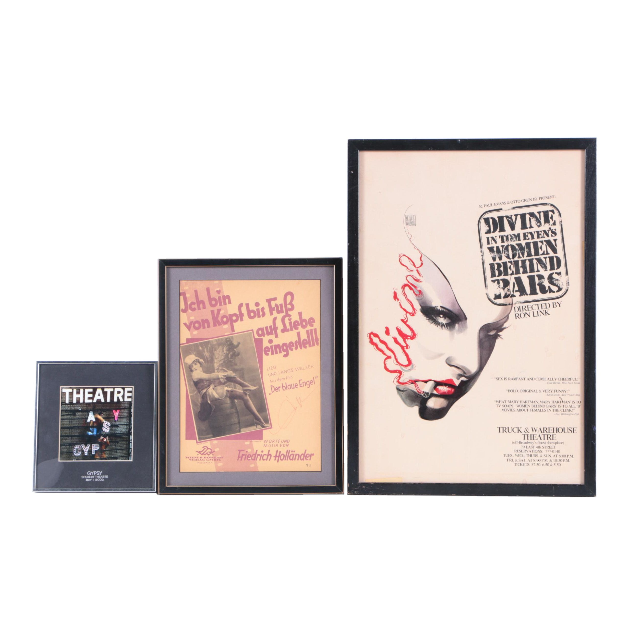 Posters and Photograph Including Marlene Dietrich Autographed Poster