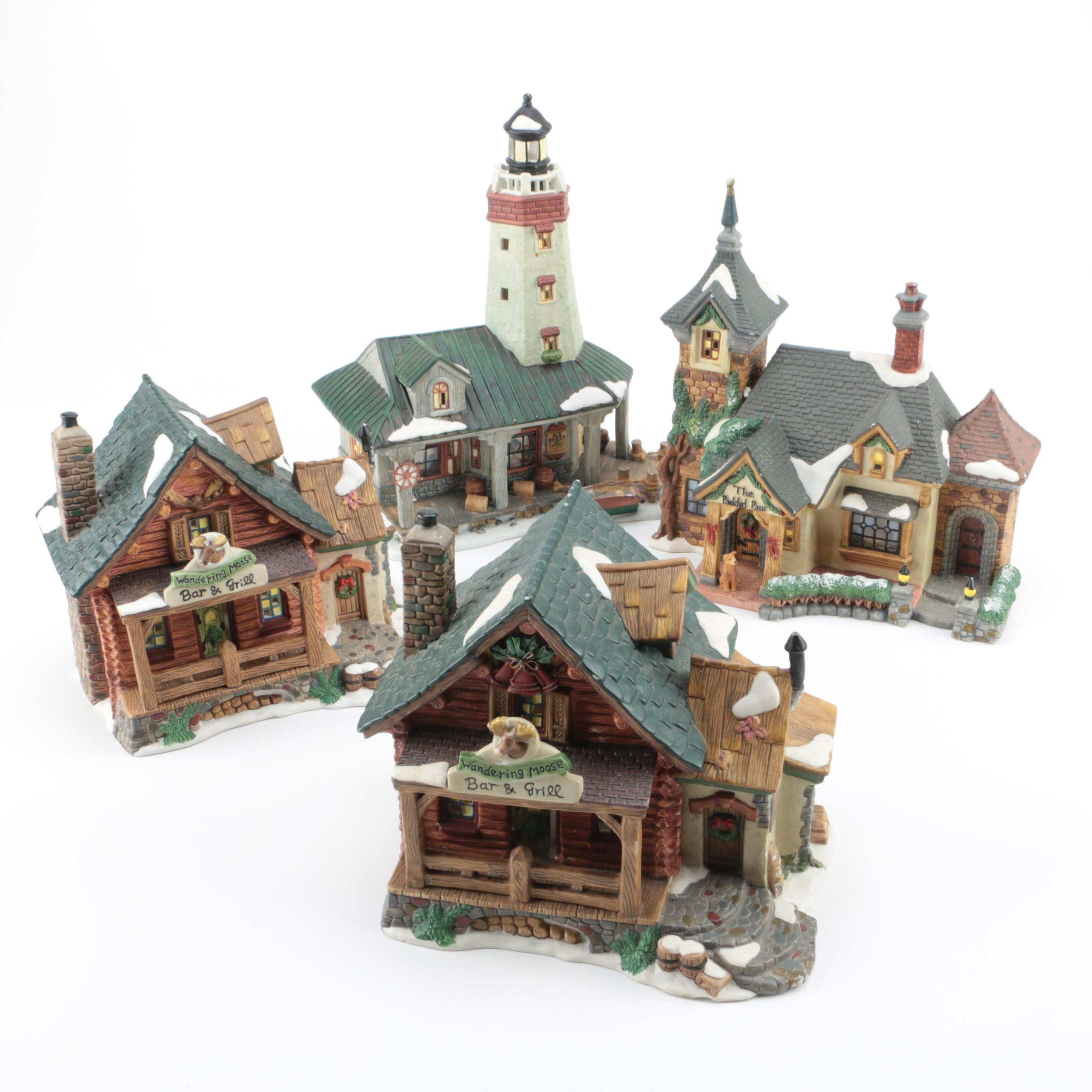 "Christmas Village Buildings from the ""Santa's Workbench Collection"""