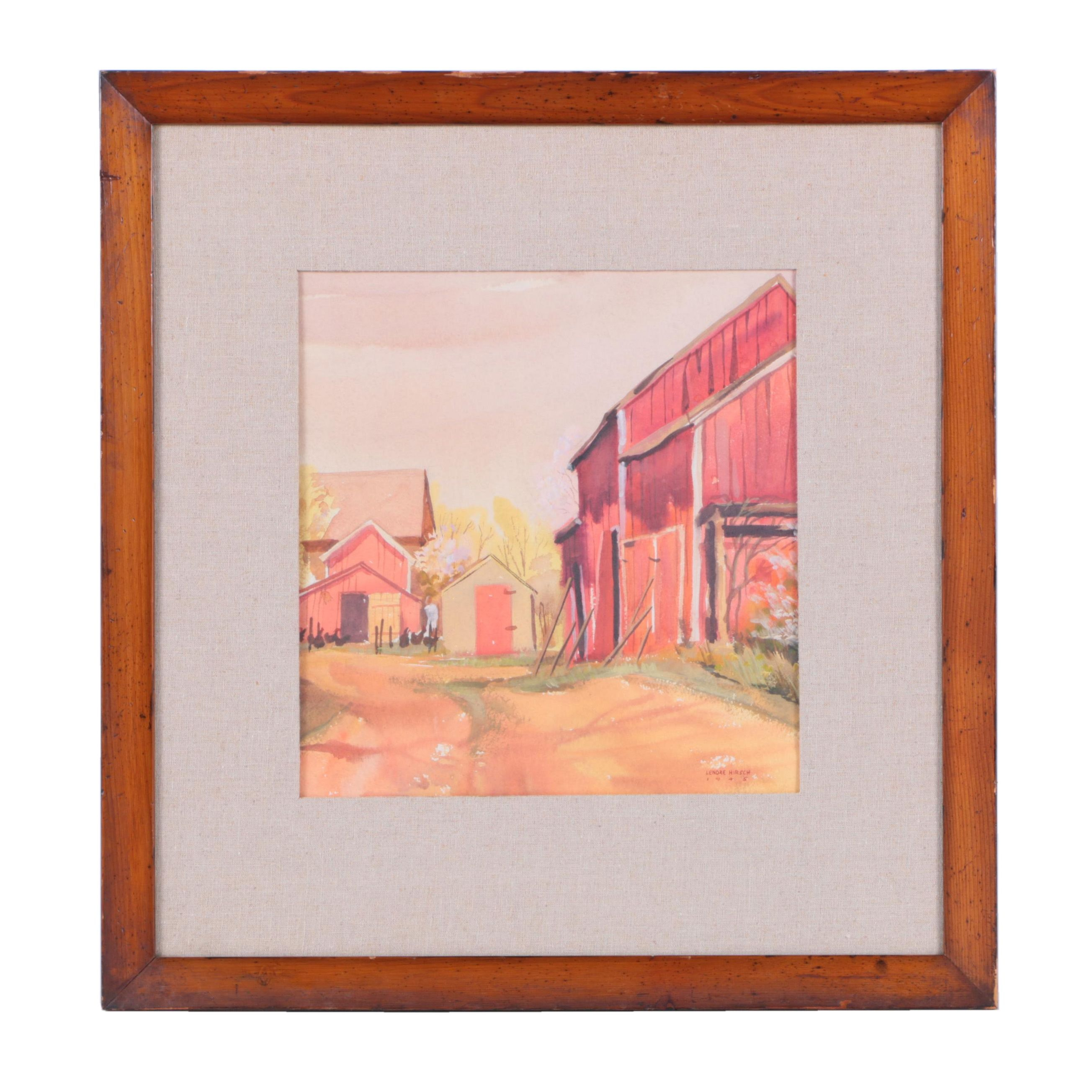 Lenore Hirsch Watercolor and Gouache Painting of Farm Scene