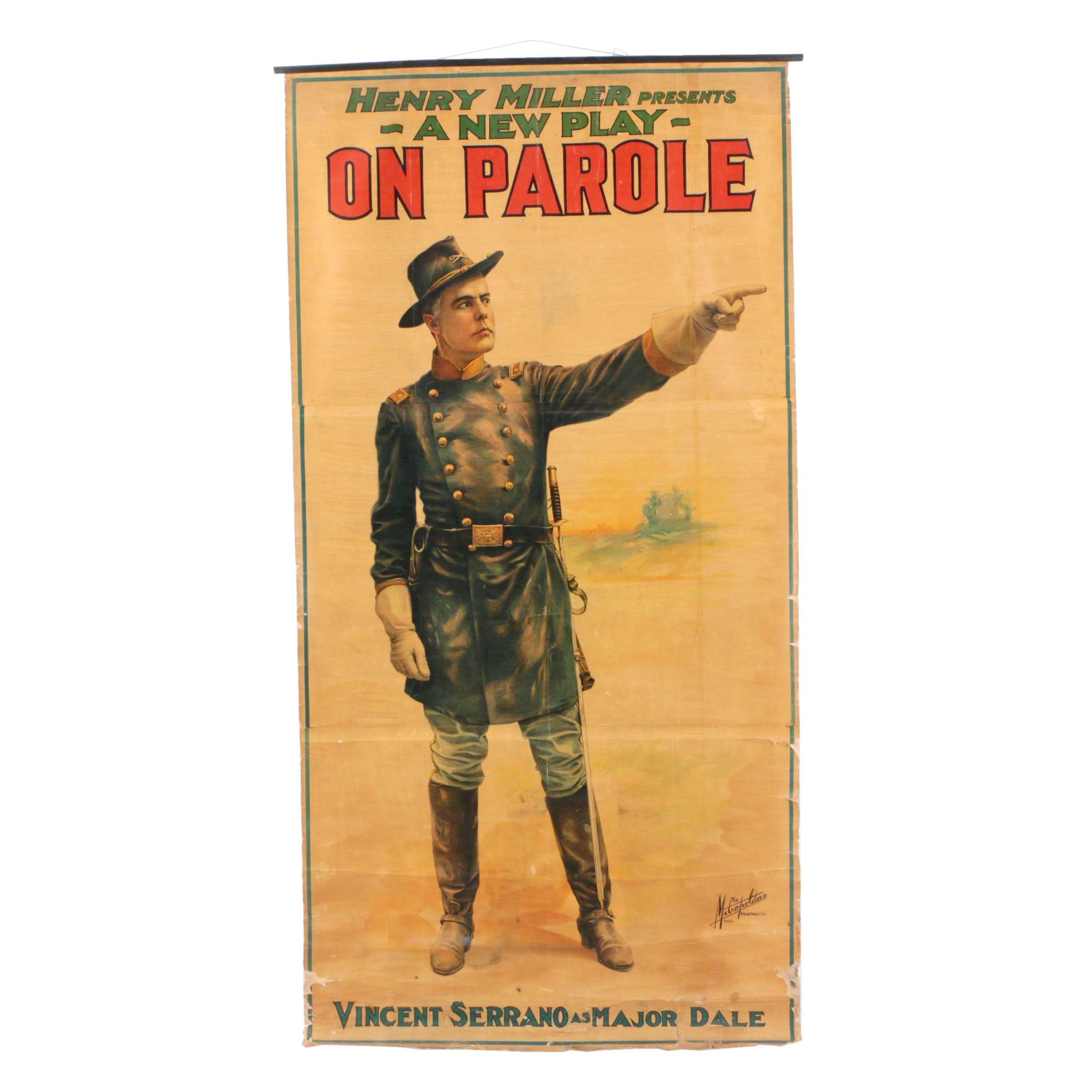 """Wall Hanging Theater Poster """"On Parole"""""""