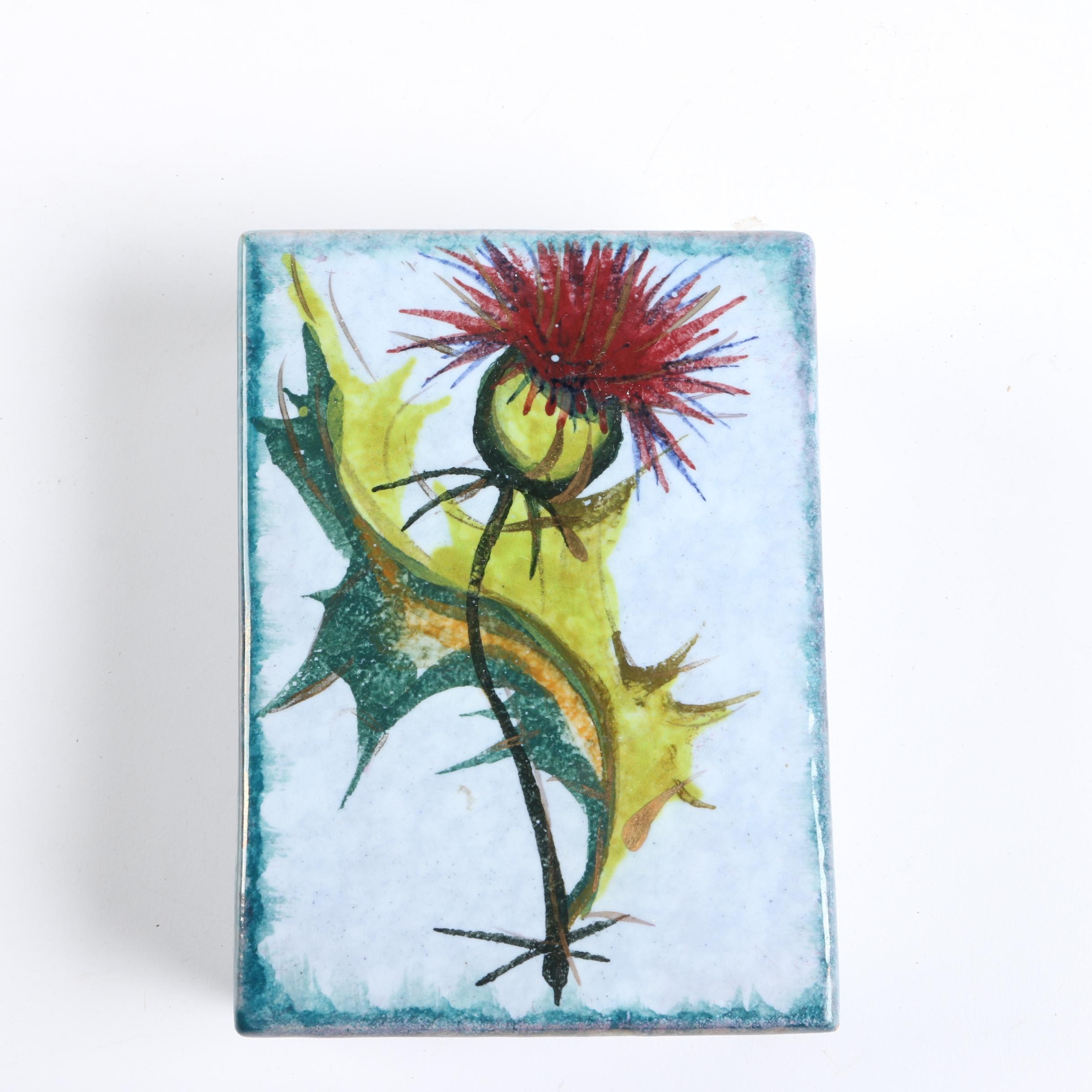 Hand-Painted Italian Earthenware Dandelion Box