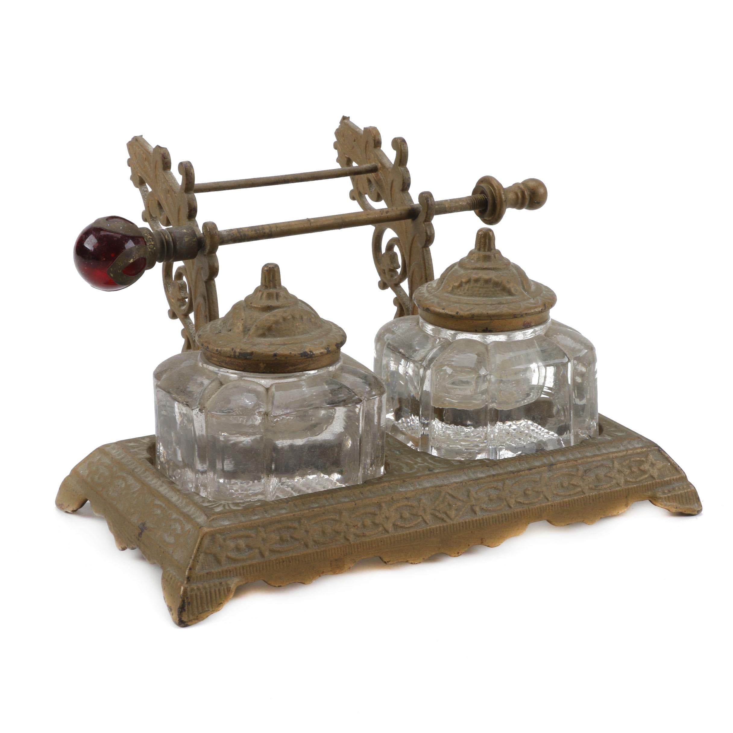 Antique Glass and Embossed Metal Inkwell Set