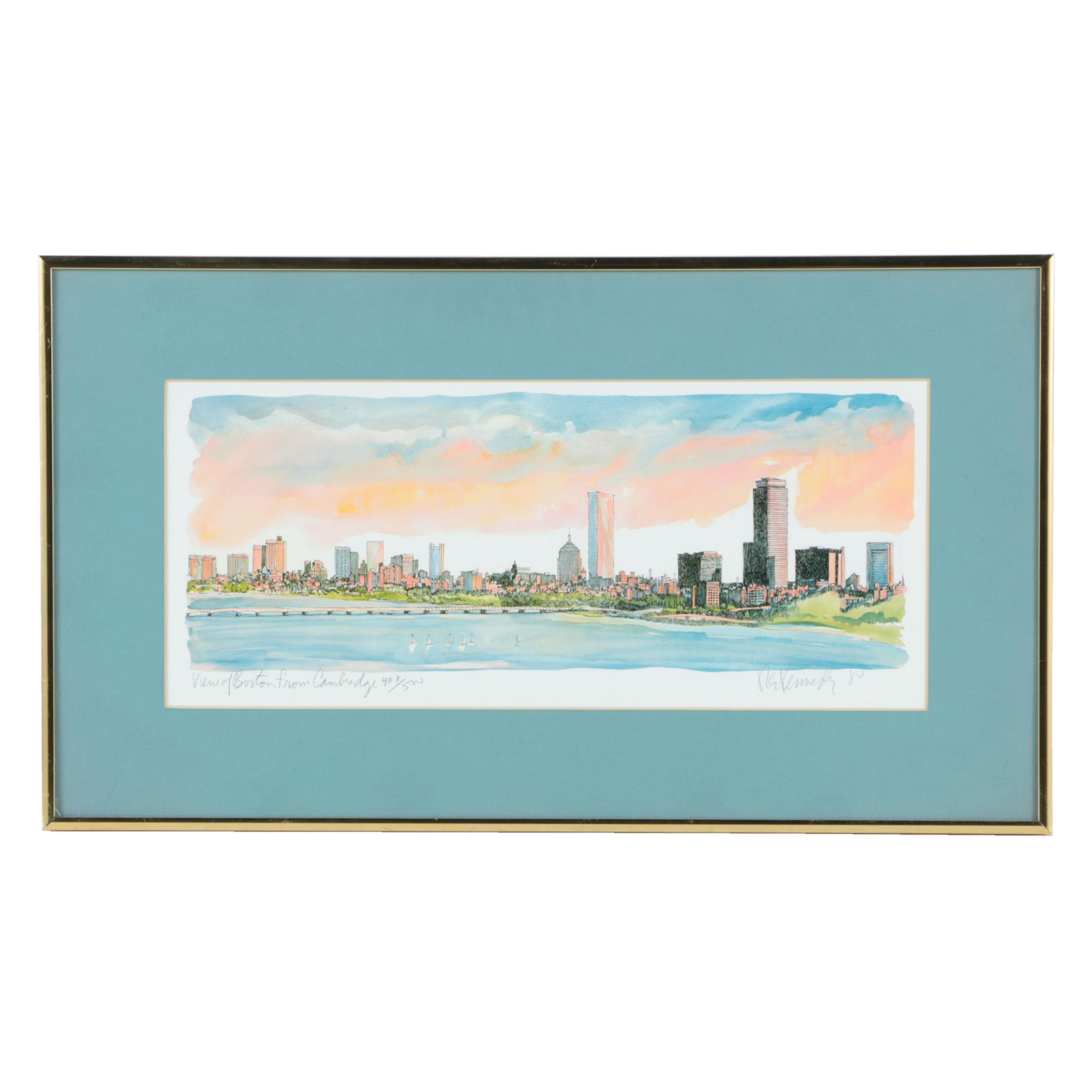 """Robert Kennedy Limited Edition Offset Lithograph """"View of Boston from Cambridge"""""""