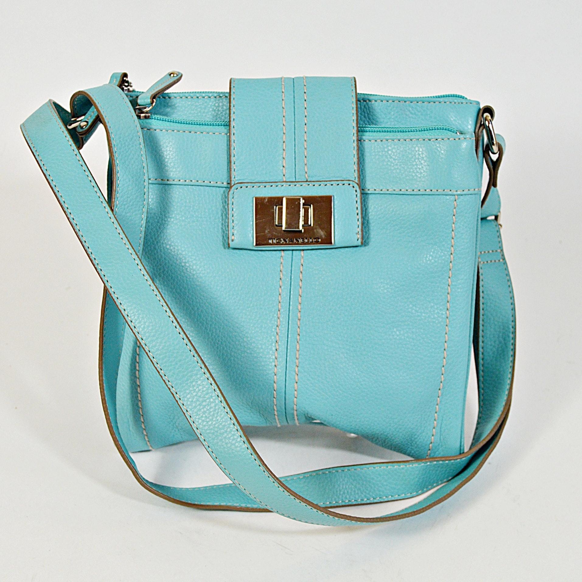 Tignanello Aqua Blue Leather Handbag
