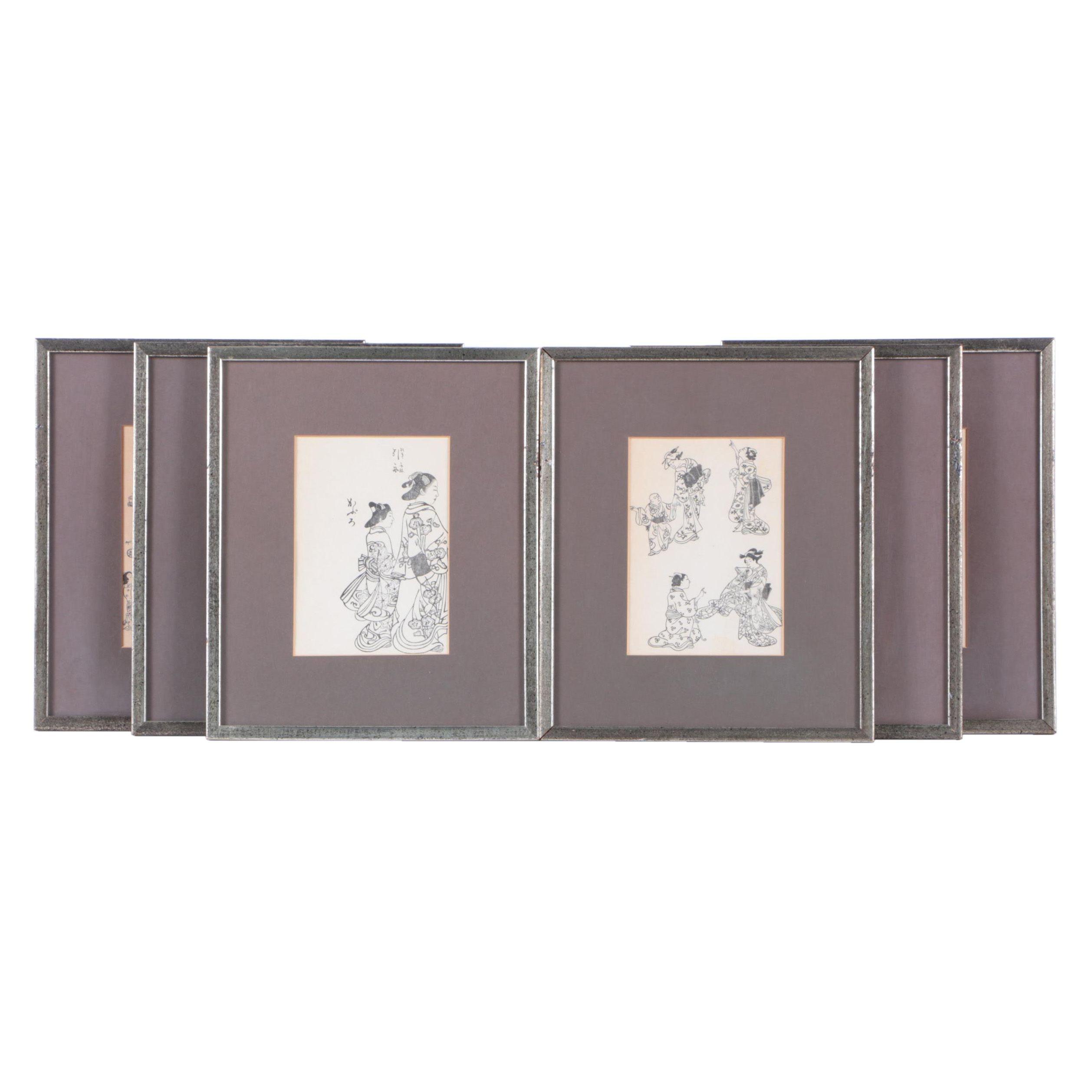 Six East Asian Style Woodblock Prints of Women