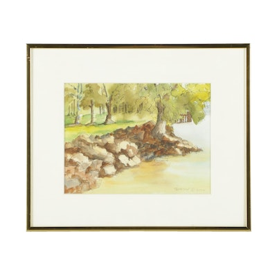 """Ruth G. Thomson Watercolor and Ink Painting """"Summer Morning in Founders Park"""""""