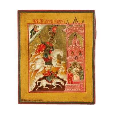 Hand-Painted Russian Orthodox Icon of Saint Demetrios the Warrior