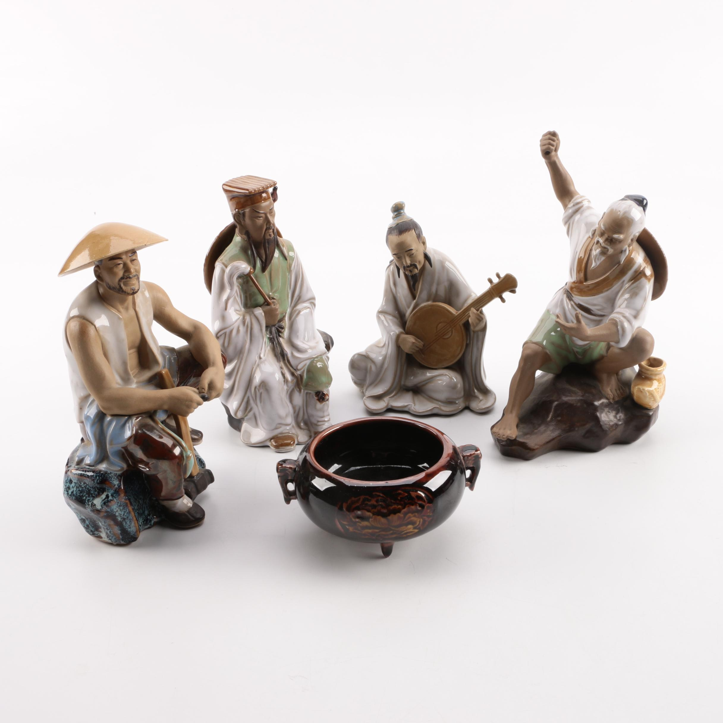 Chinese Mud Man Style Figurines and Vessel