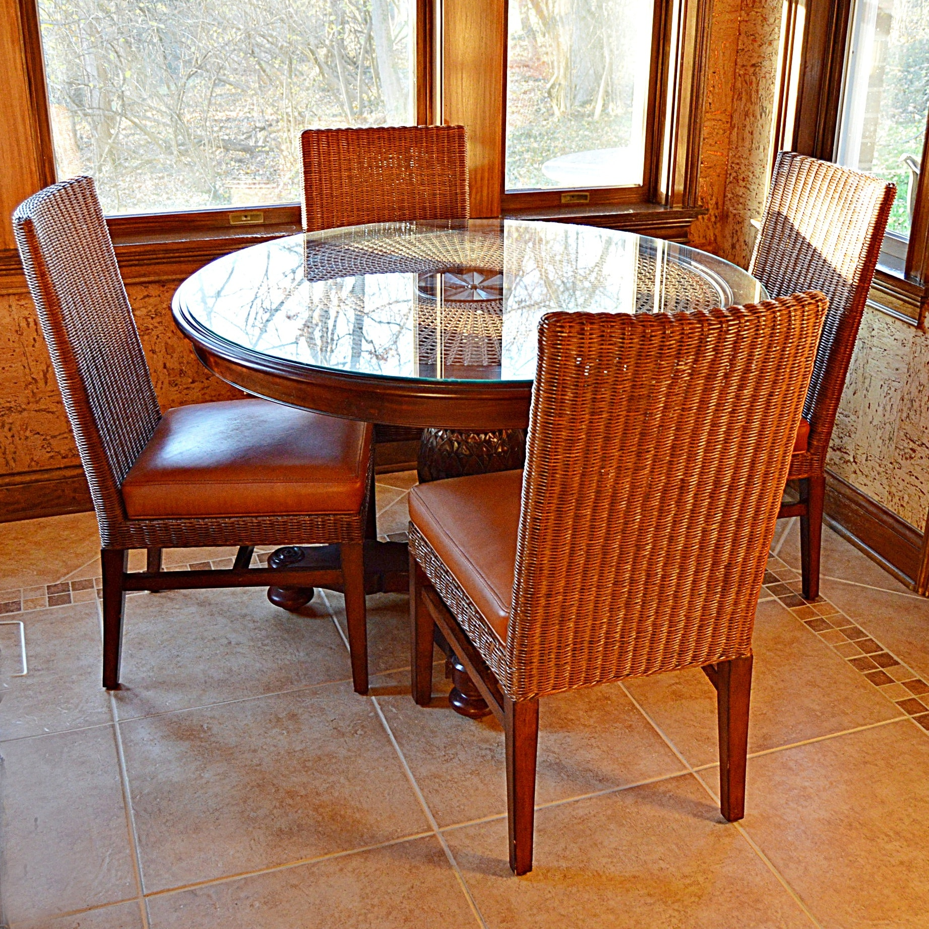 Ethan Allen Wicker and Wood Dining Set with Round Pedestal Table and Four Chairs
