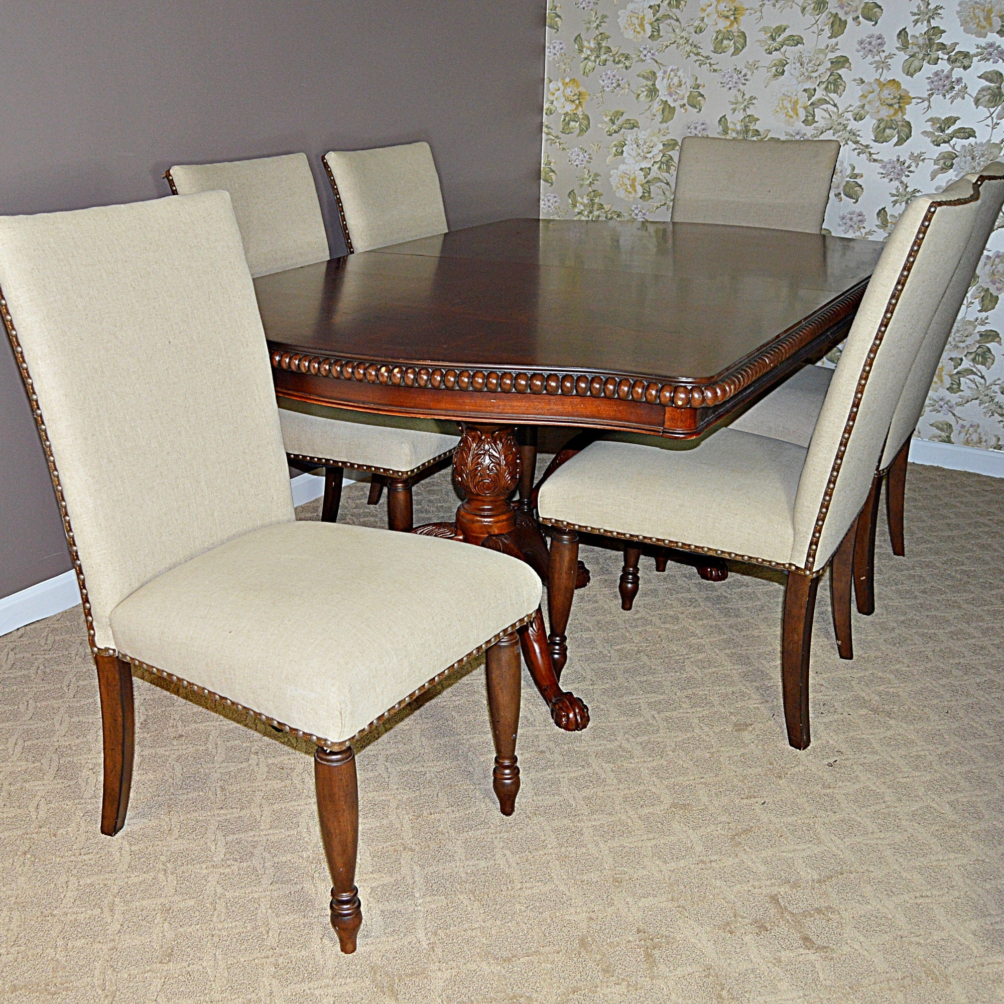 Victorian Style Pedestal Dining Table and Six Linen-Upholstered Dining Chairs